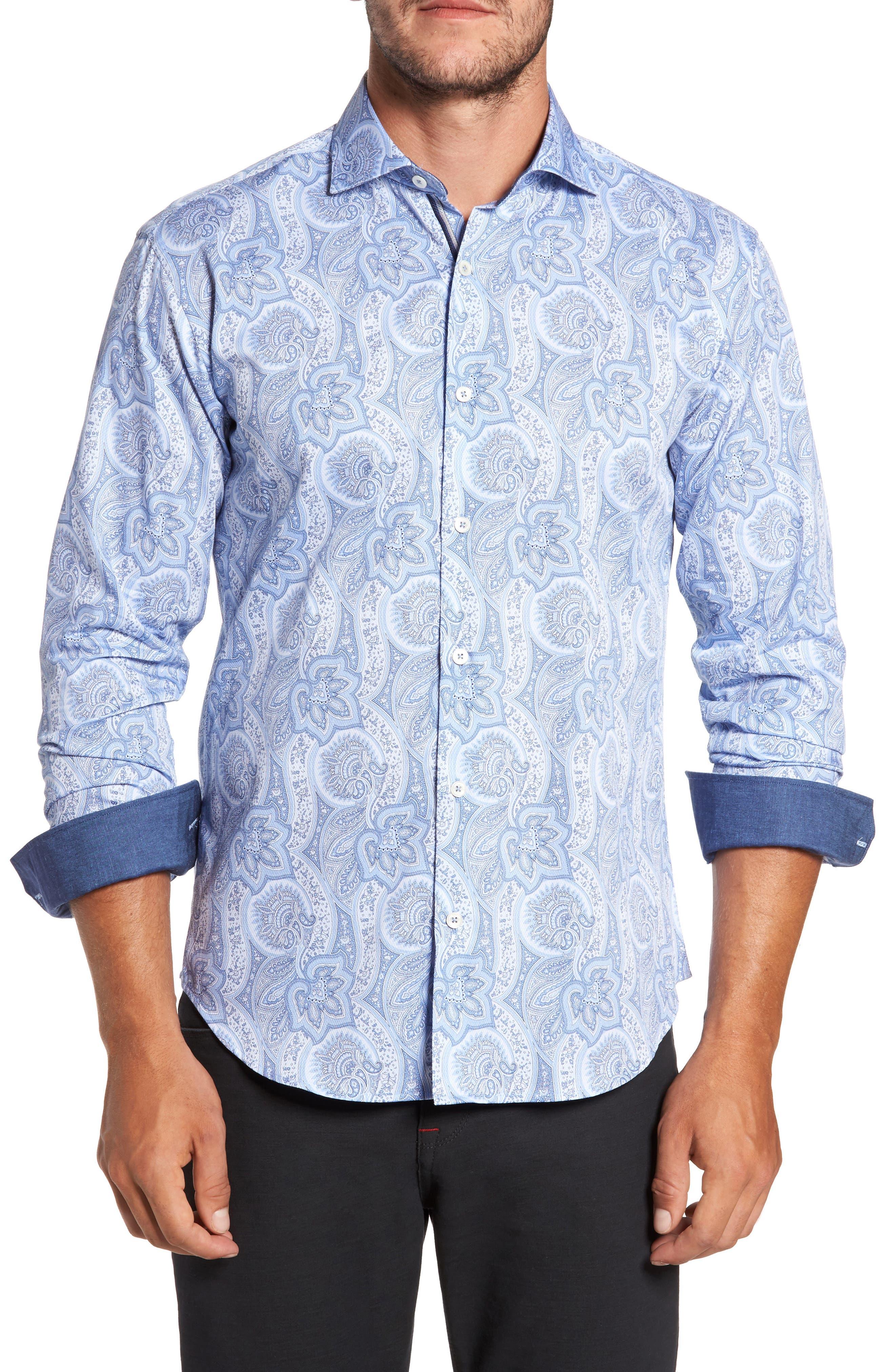 Bugtachi Shaped Fit Print Sport Shirt,                         Main,                         color, Sky