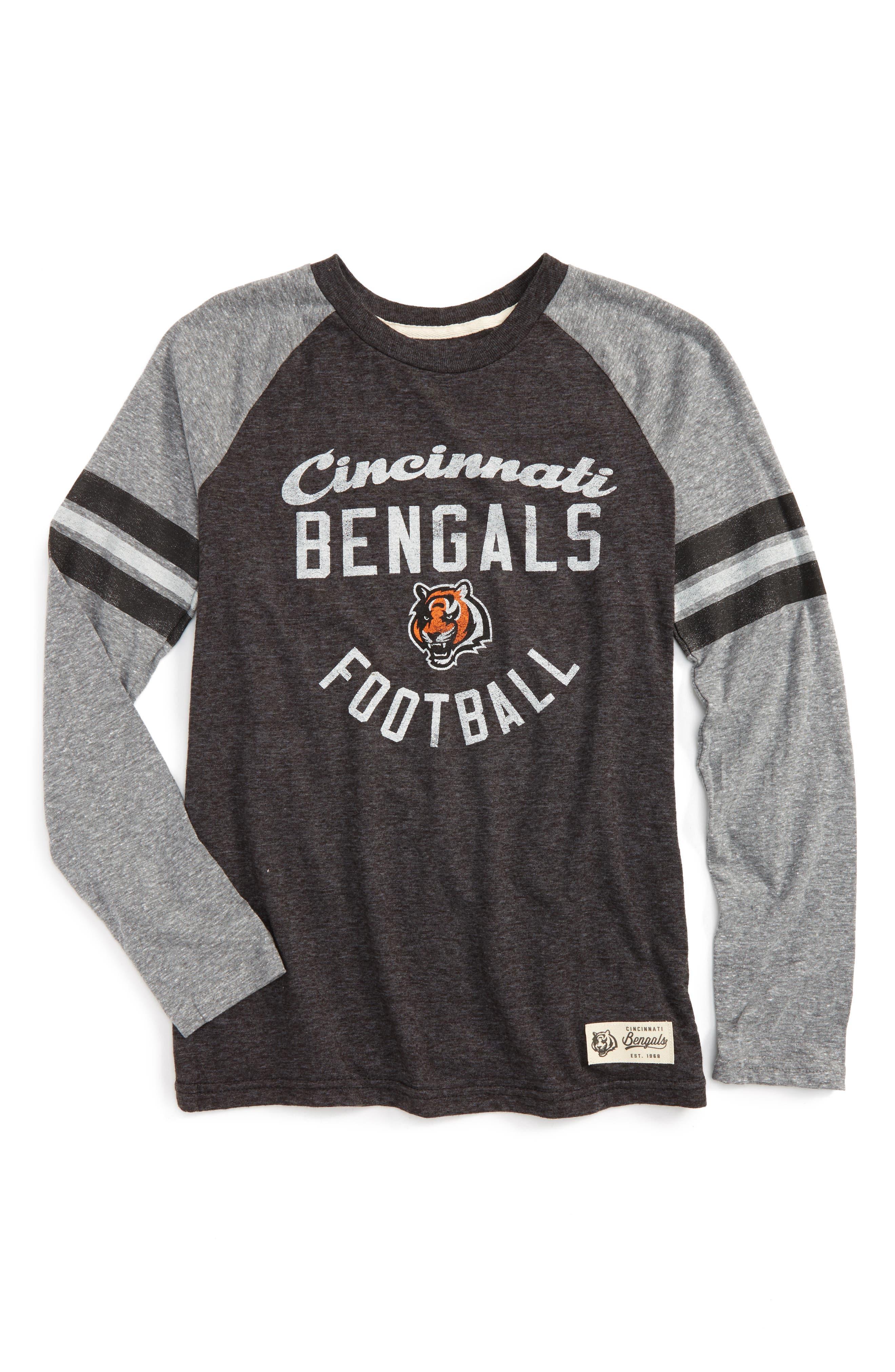 NFL Cincinatti Bengals Distressed Logo T-Shirt,                             Main thumbnail 1, color,                             Black