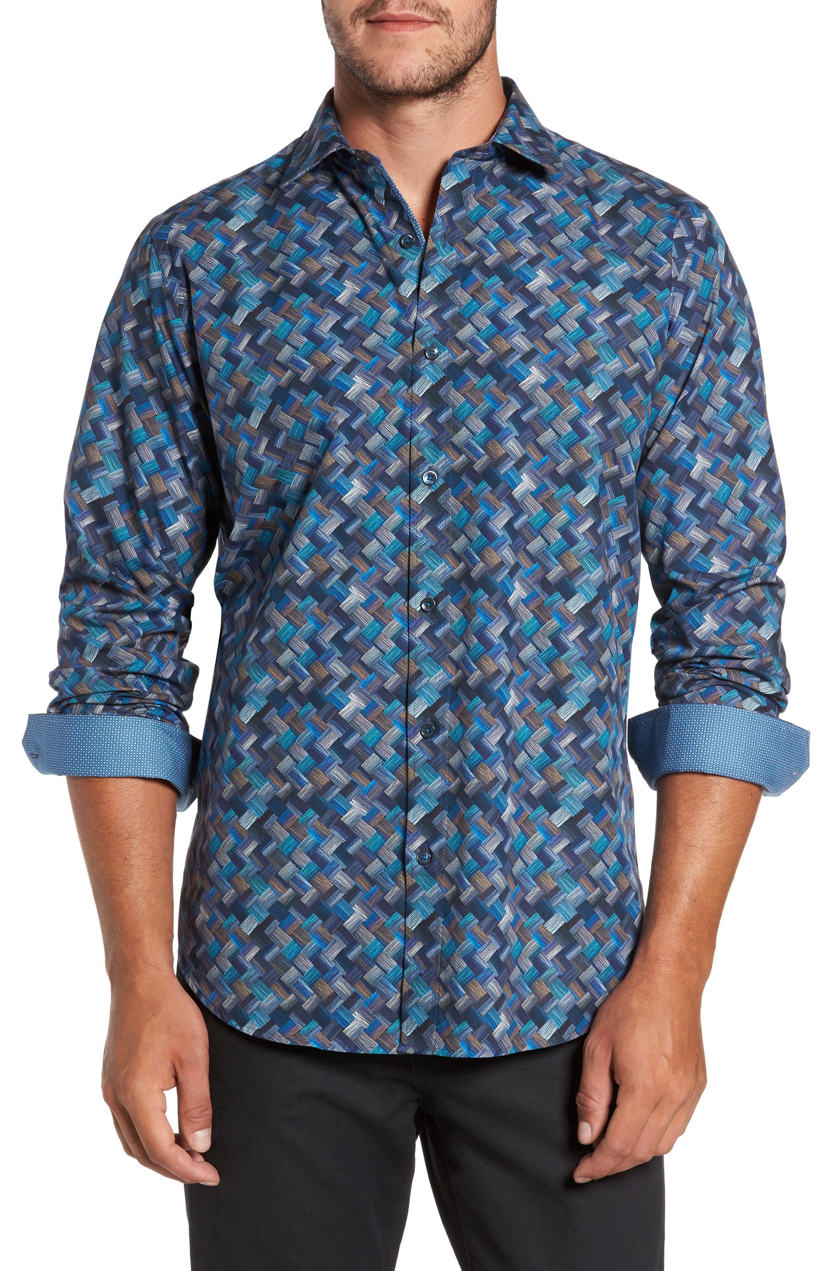 Classic Fit Basket Weave Print Sport Shirt,                         Main,                         color, Navy