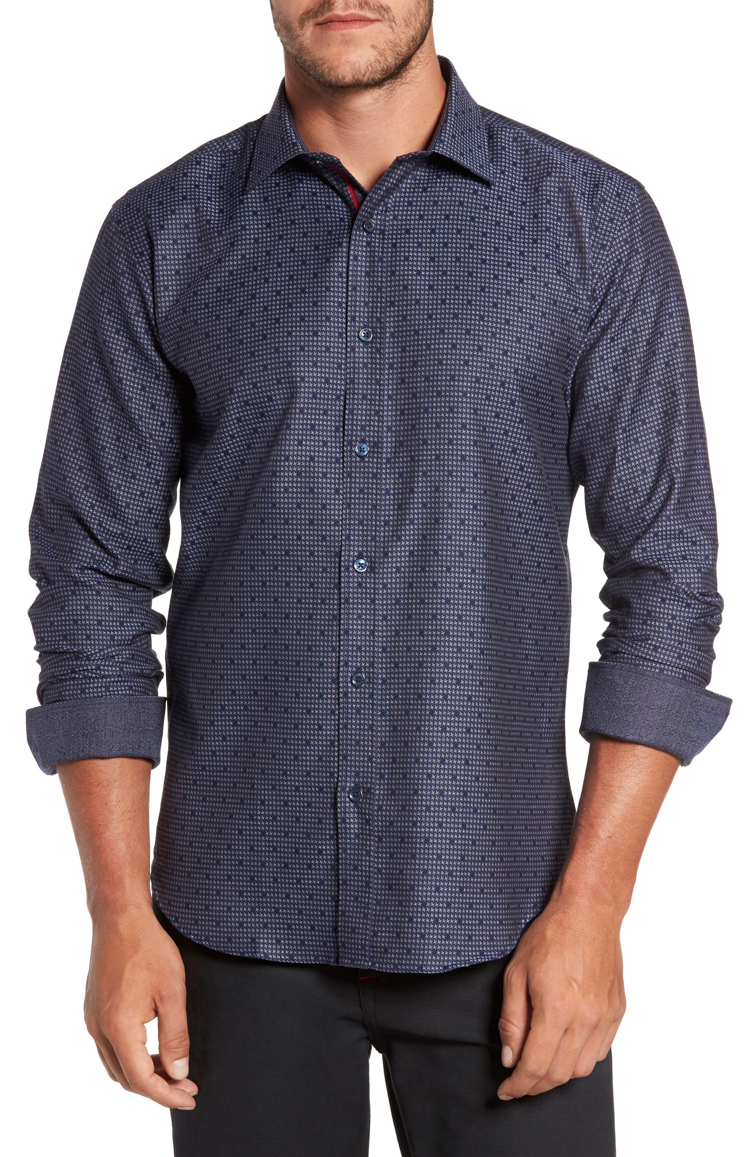 Trim Fit Dot Houndstooth Sport Shirt,                         Main,                         color, Navy
