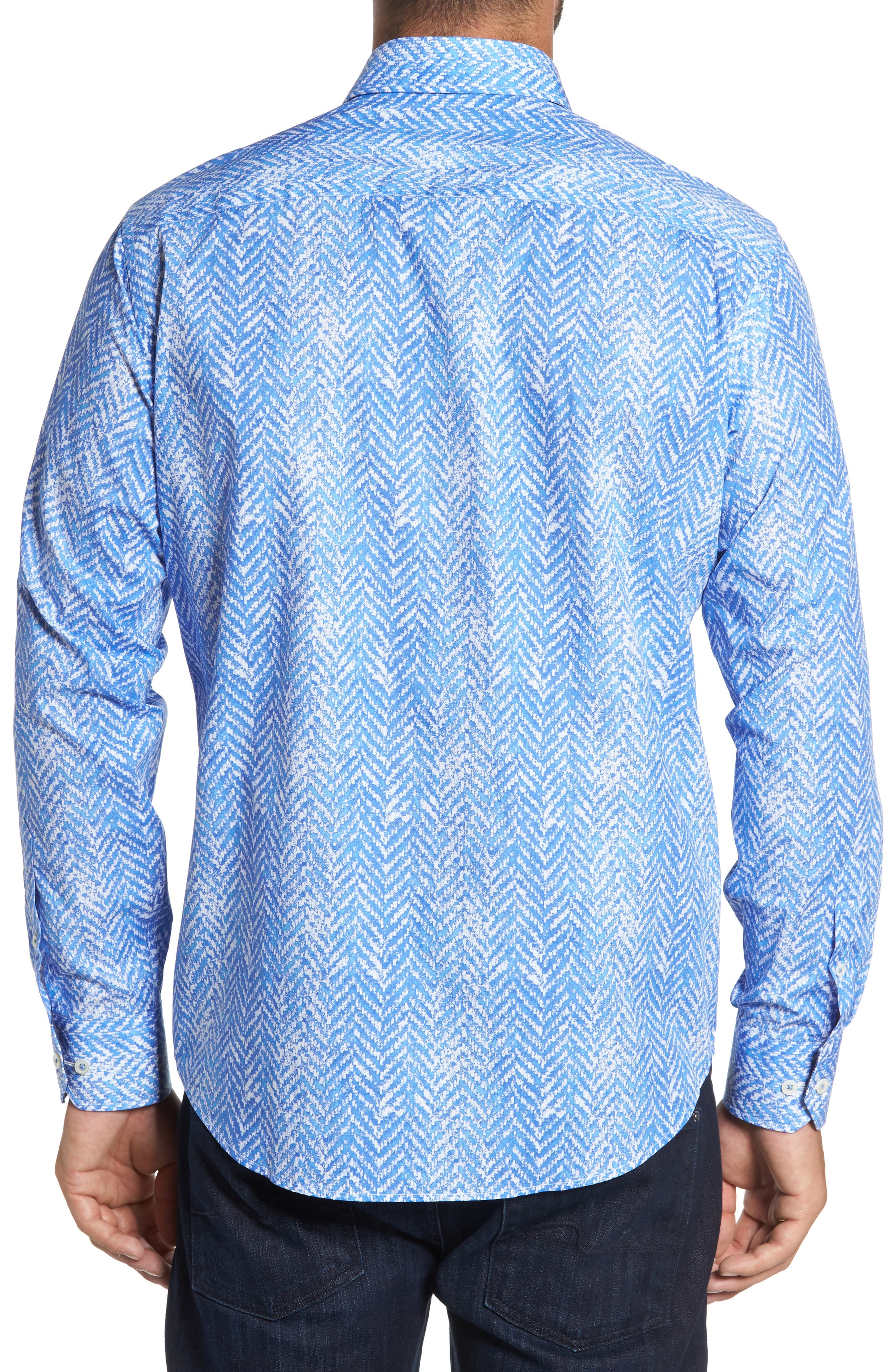 Classic Fit Herringbone Print Sport Shirt,                             Alternate thumbnail 2, color,                             Air Blue