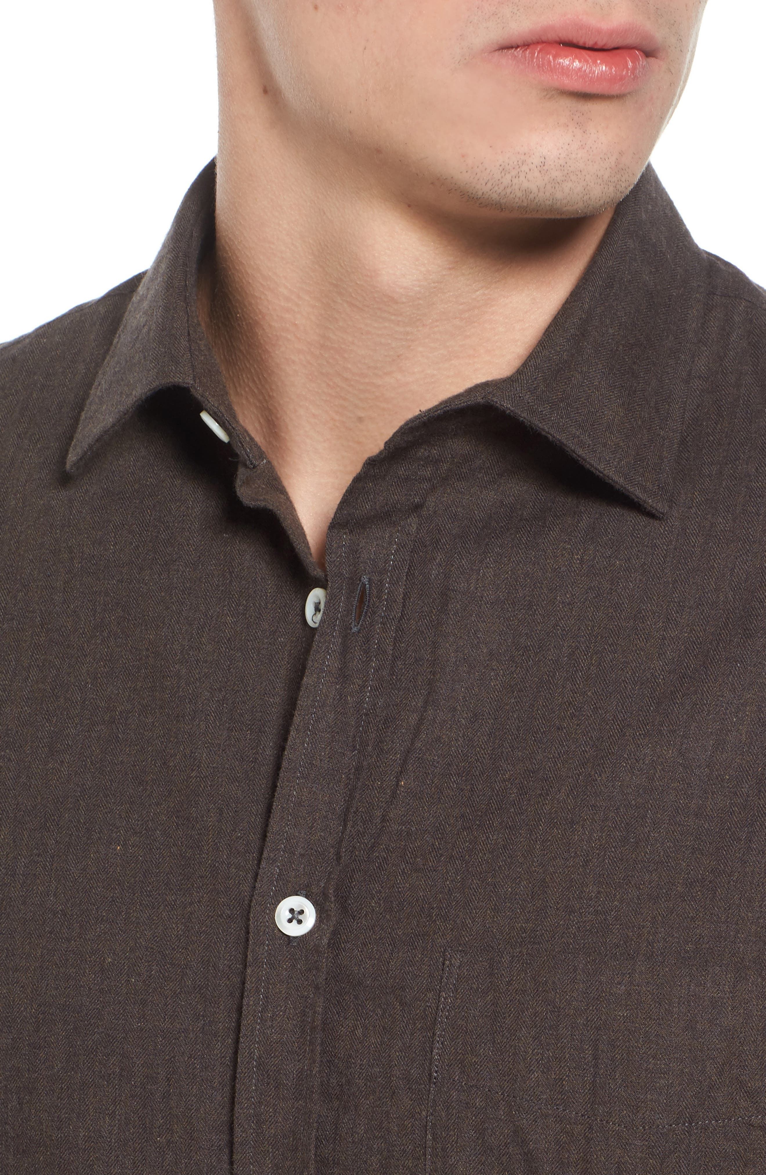 John T Standard Fit Herringbone Shirt,                             Alternate thumbnail 4, color,                             Brown