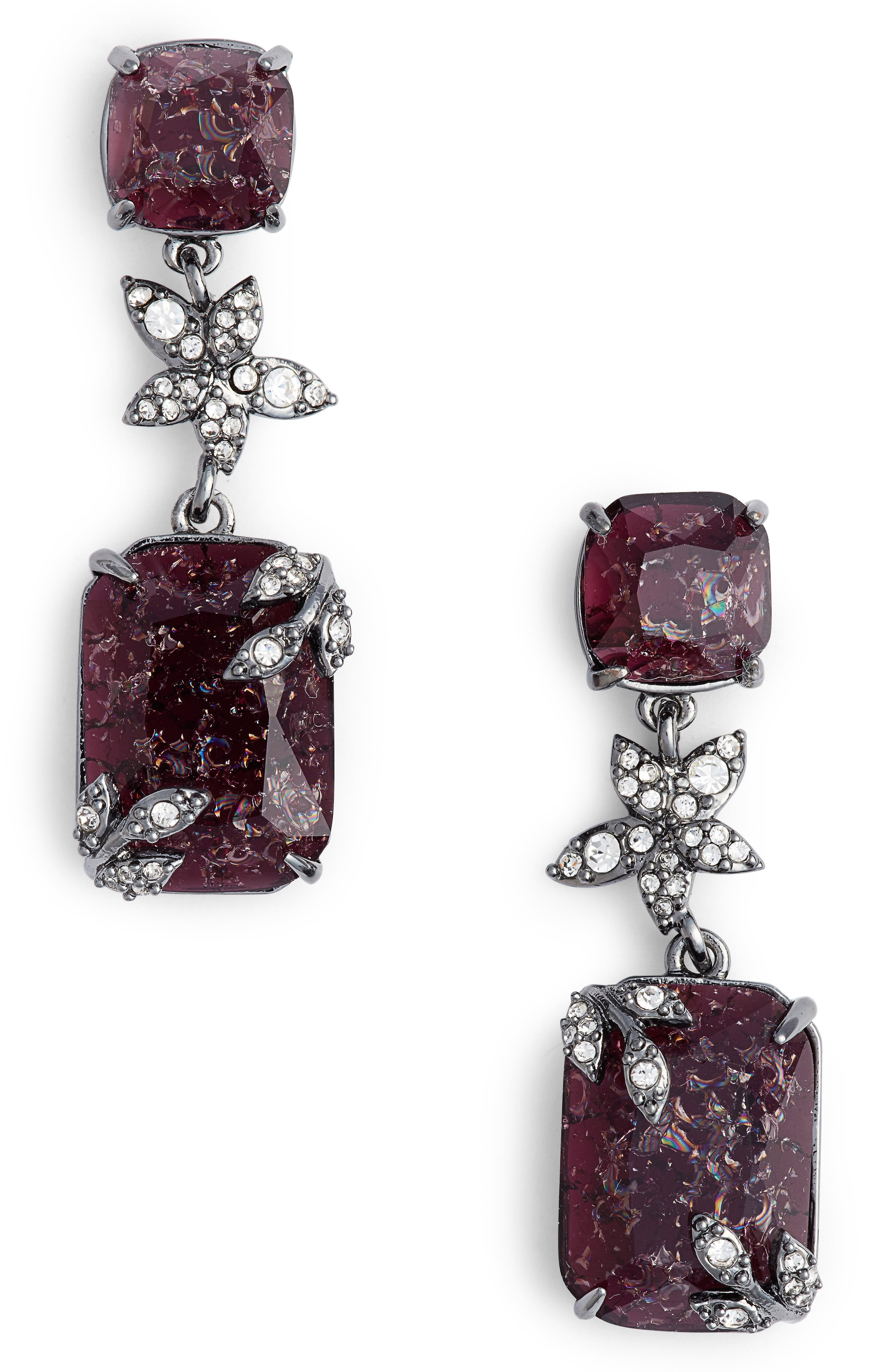 Double Drop Earrings,                         Main,                         color, Burgundy