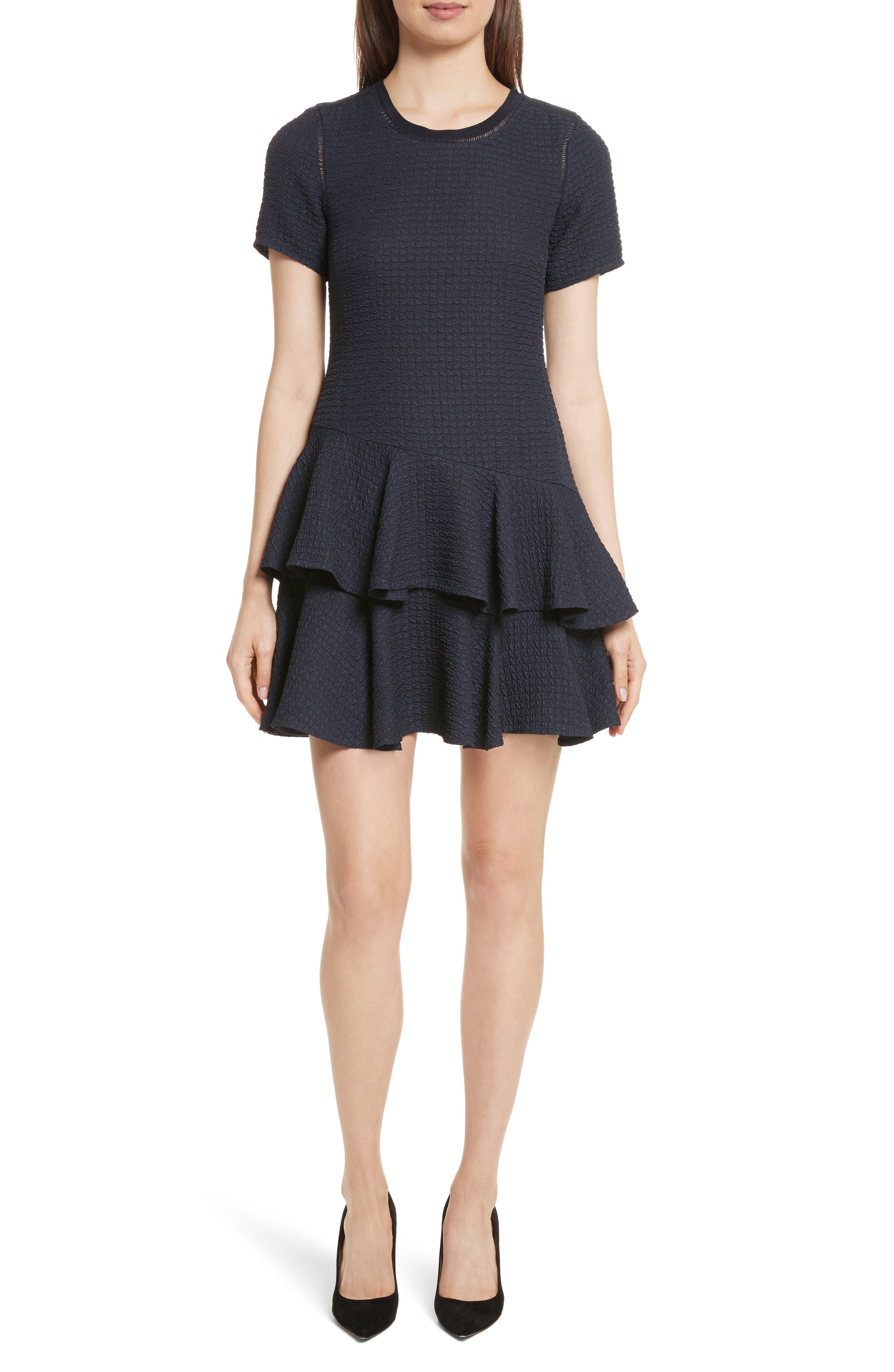 Rebecca Taylor Pucker Ruffle A-Line Dress