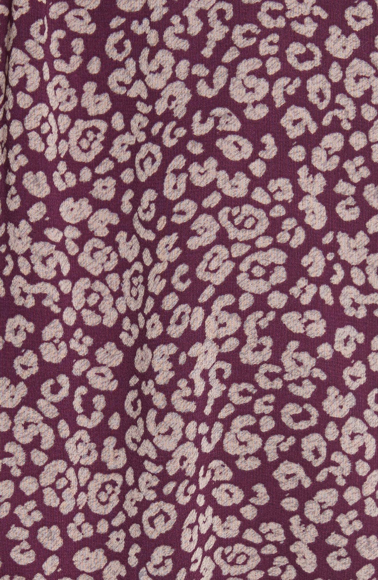 Rosemary A-Line Dress,                             Alternate thumbnail 5, color,                             Potent Purple Leopard