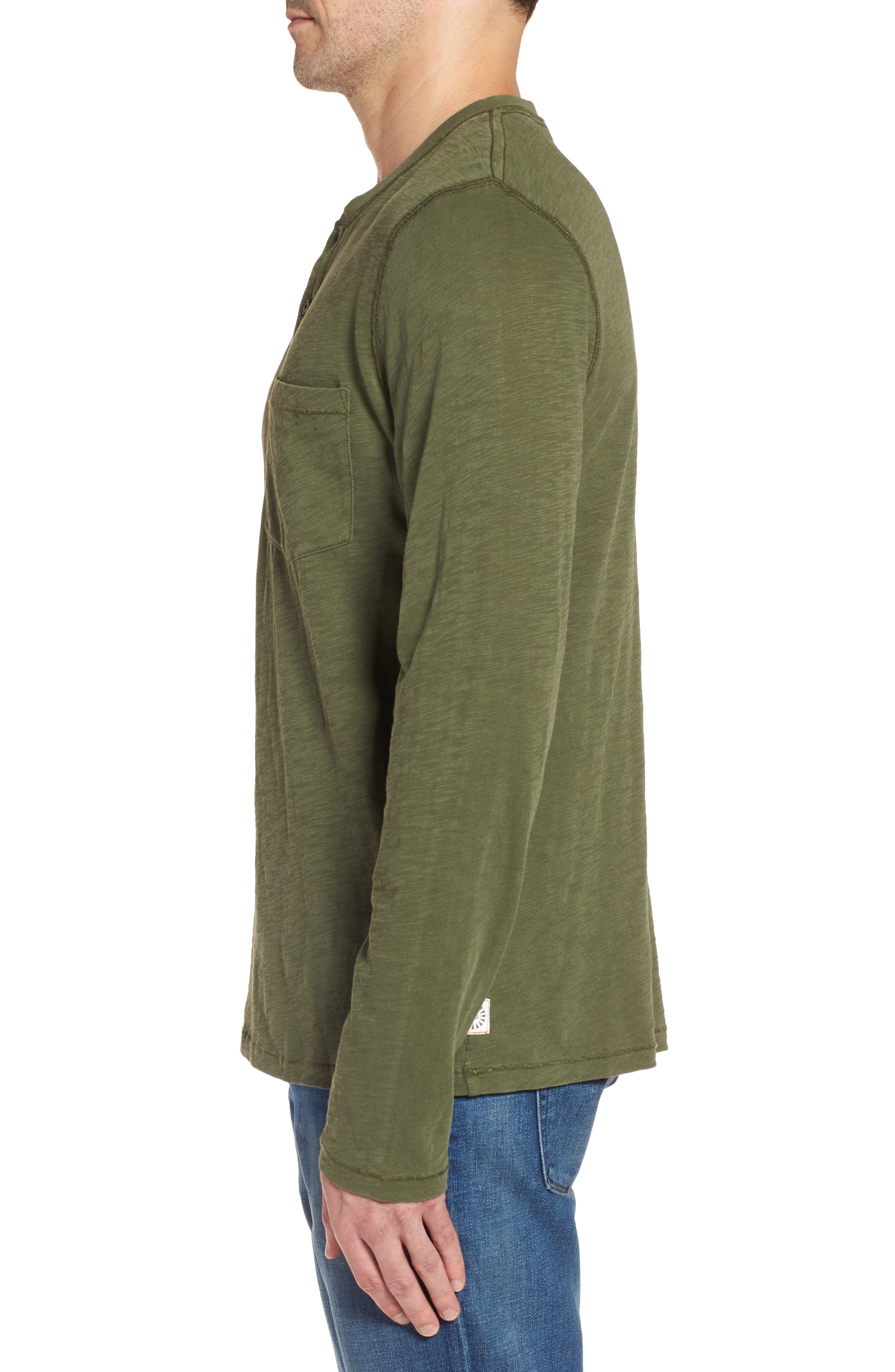 Long Sleeve Henley T-Shirt,                             Alternate thumbnail 3, color,                             Olive