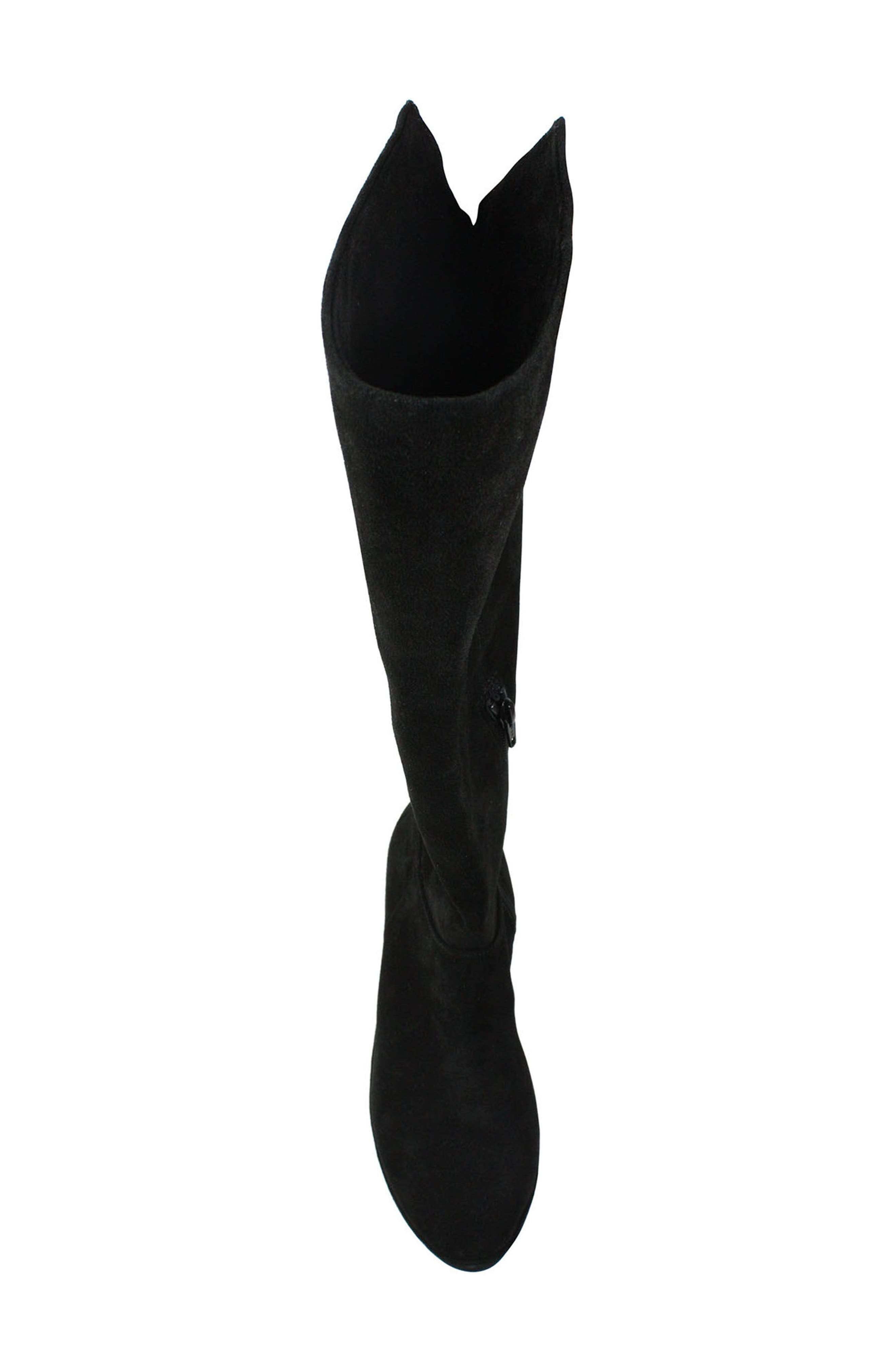 Odalys Tall Boot,                             Alternate thumbnail 4, color,                             Black Suede