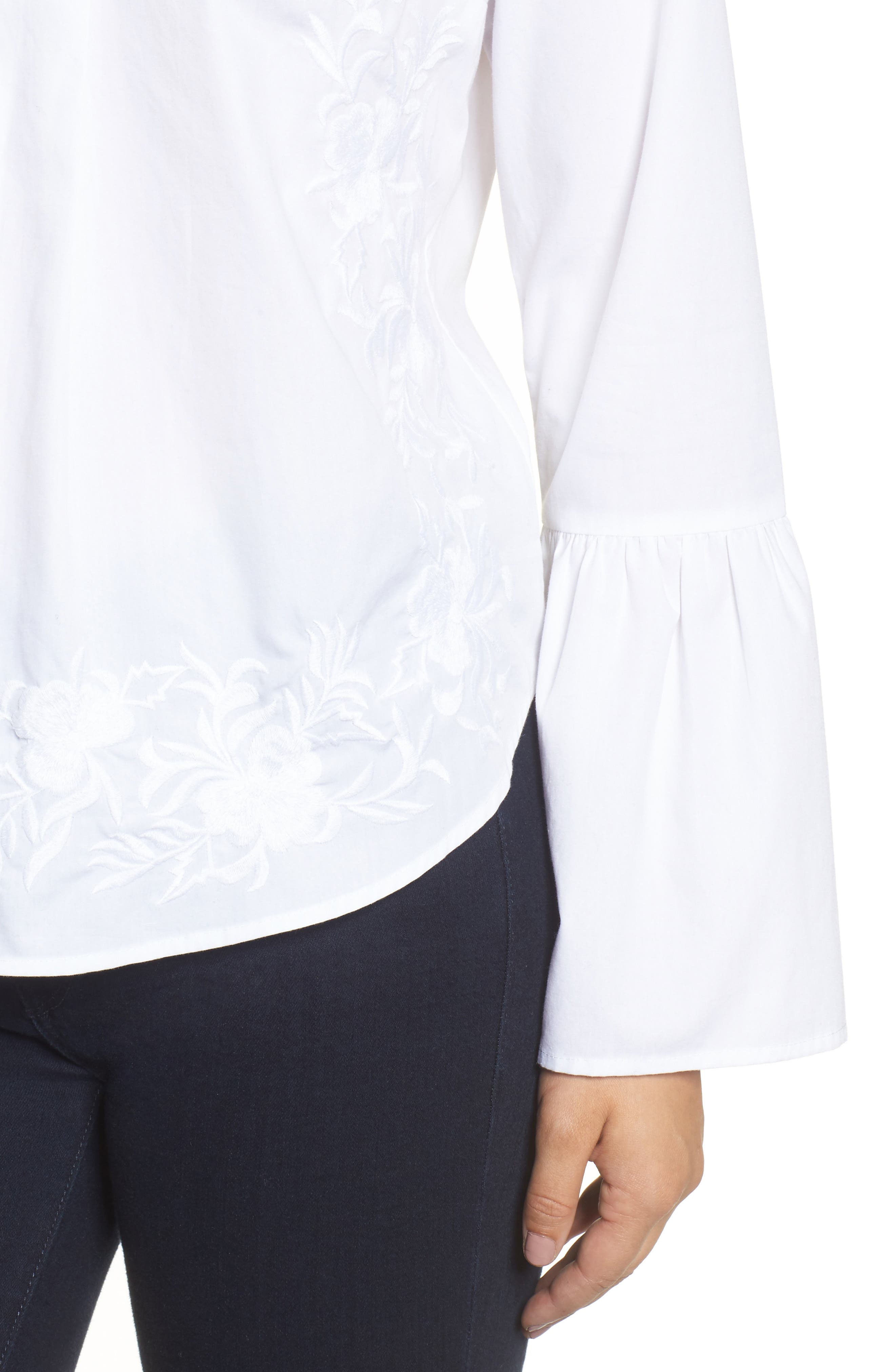Embroidered Bell Sleeve Top,                             Alternate thumbnail 4, color,                             White Embroidered Pattern