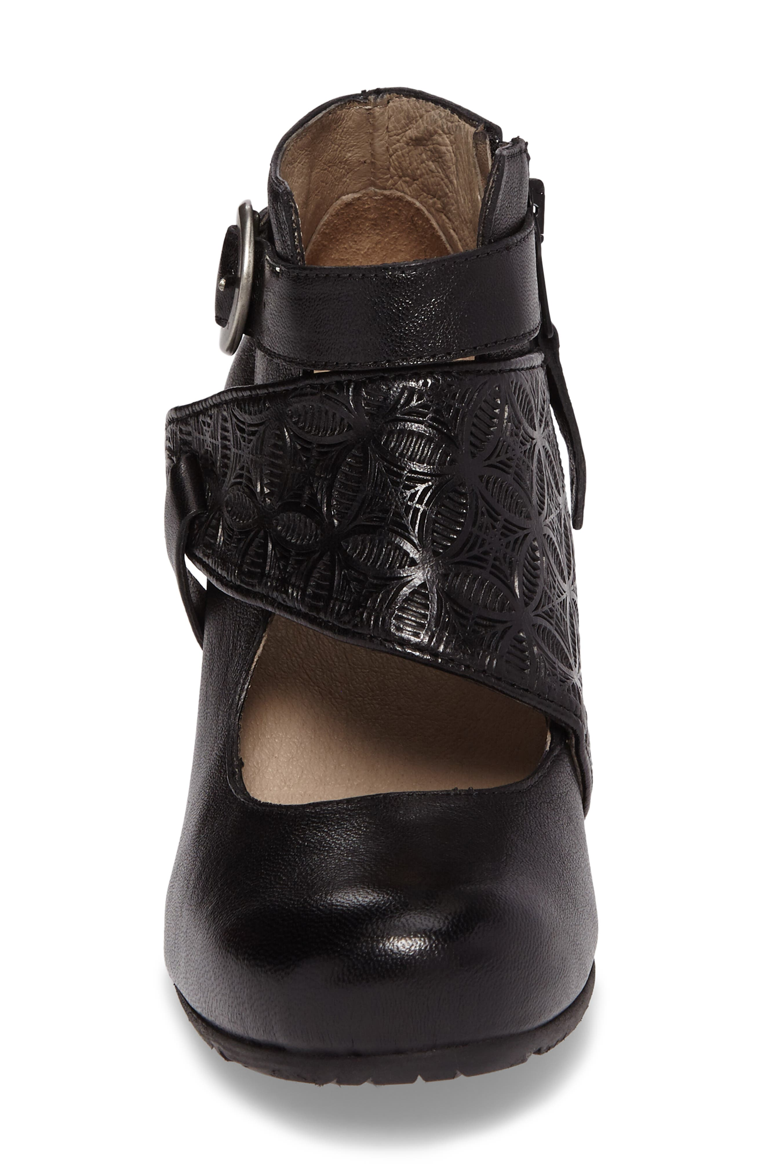 Dale Embossed Mary Jane Bootie,                             Alternate thumbnail 4, color,                             Black