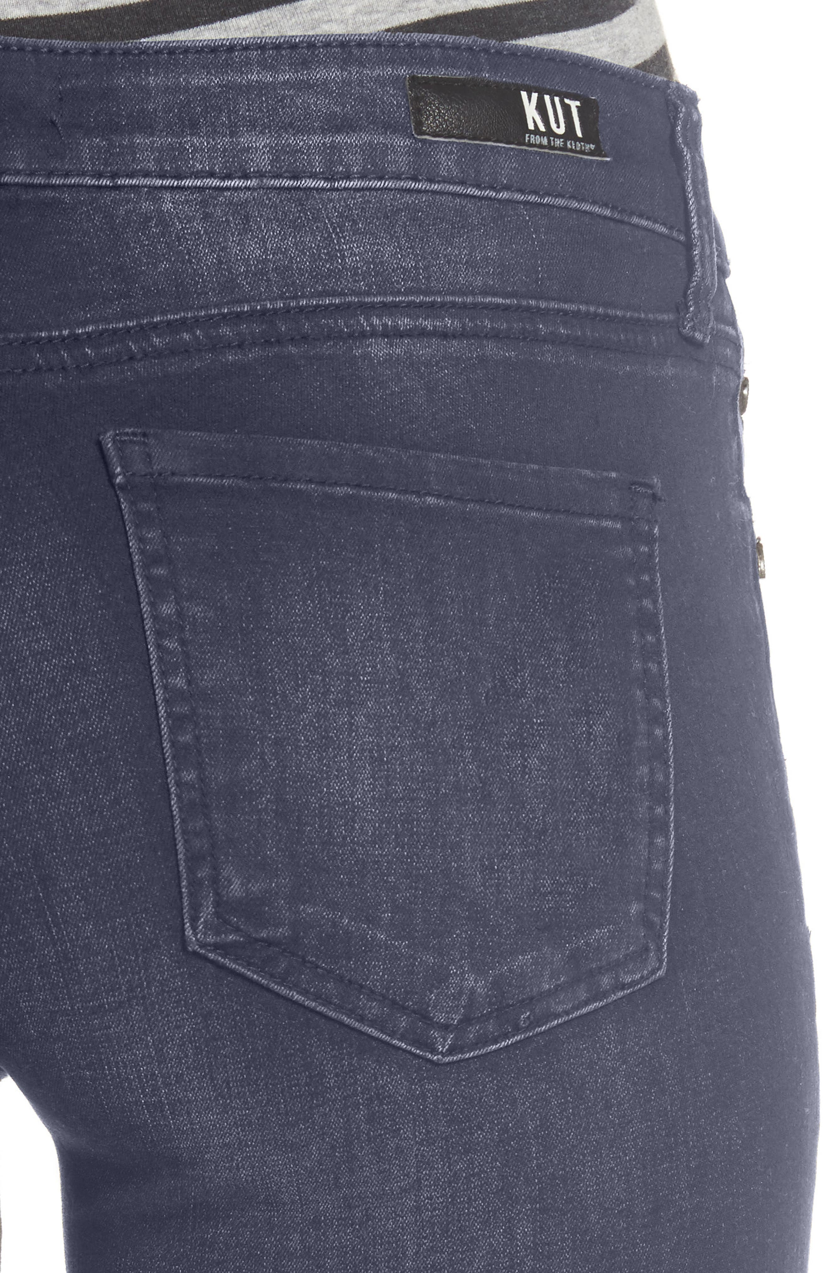 Mia Embroidered Skinny Jeans,                             Alternate thumbnail 4, color,                             Quintessential