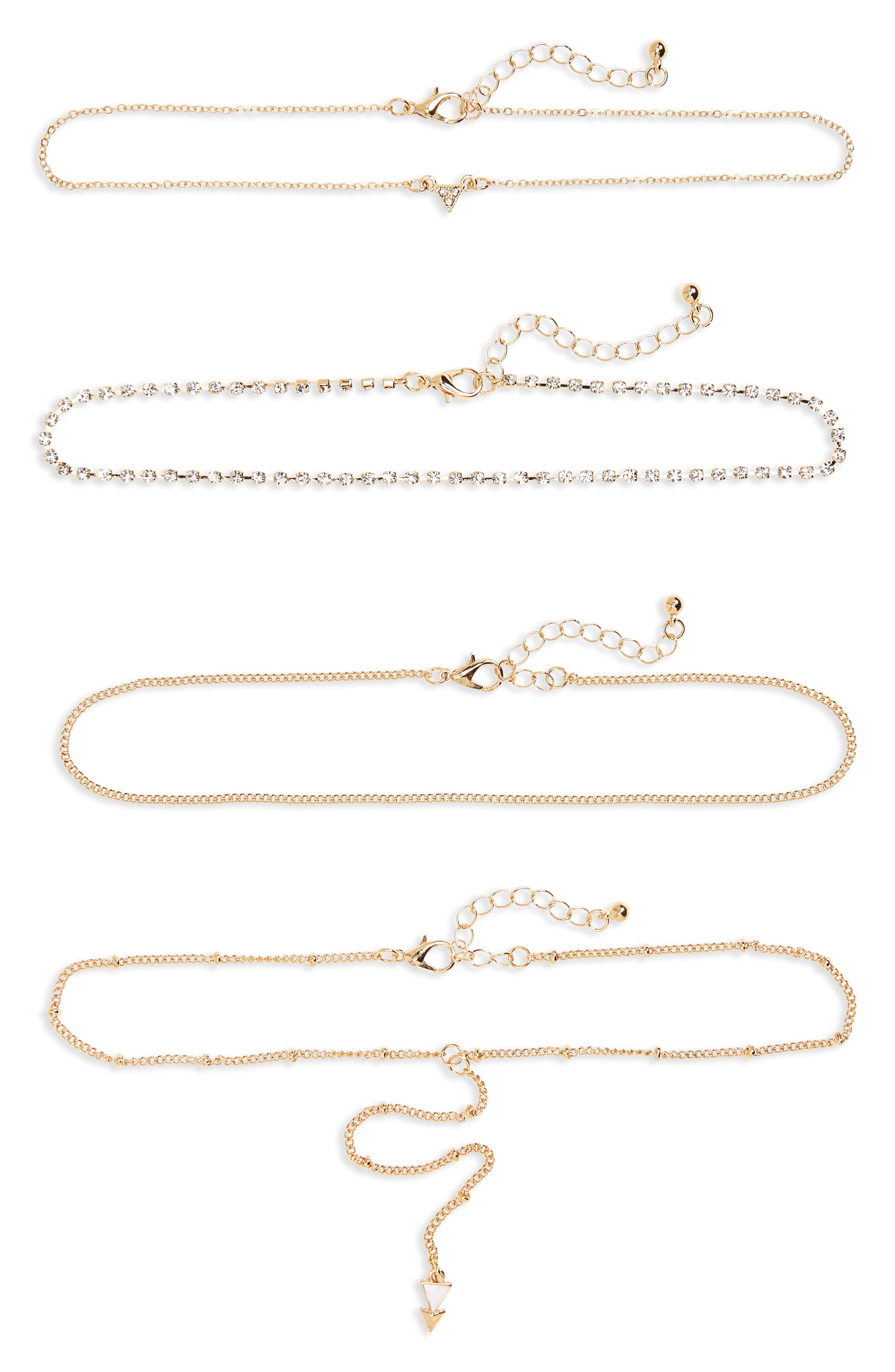 4-Pack Rhinestone Chokers,                         Main,                         color, Gold