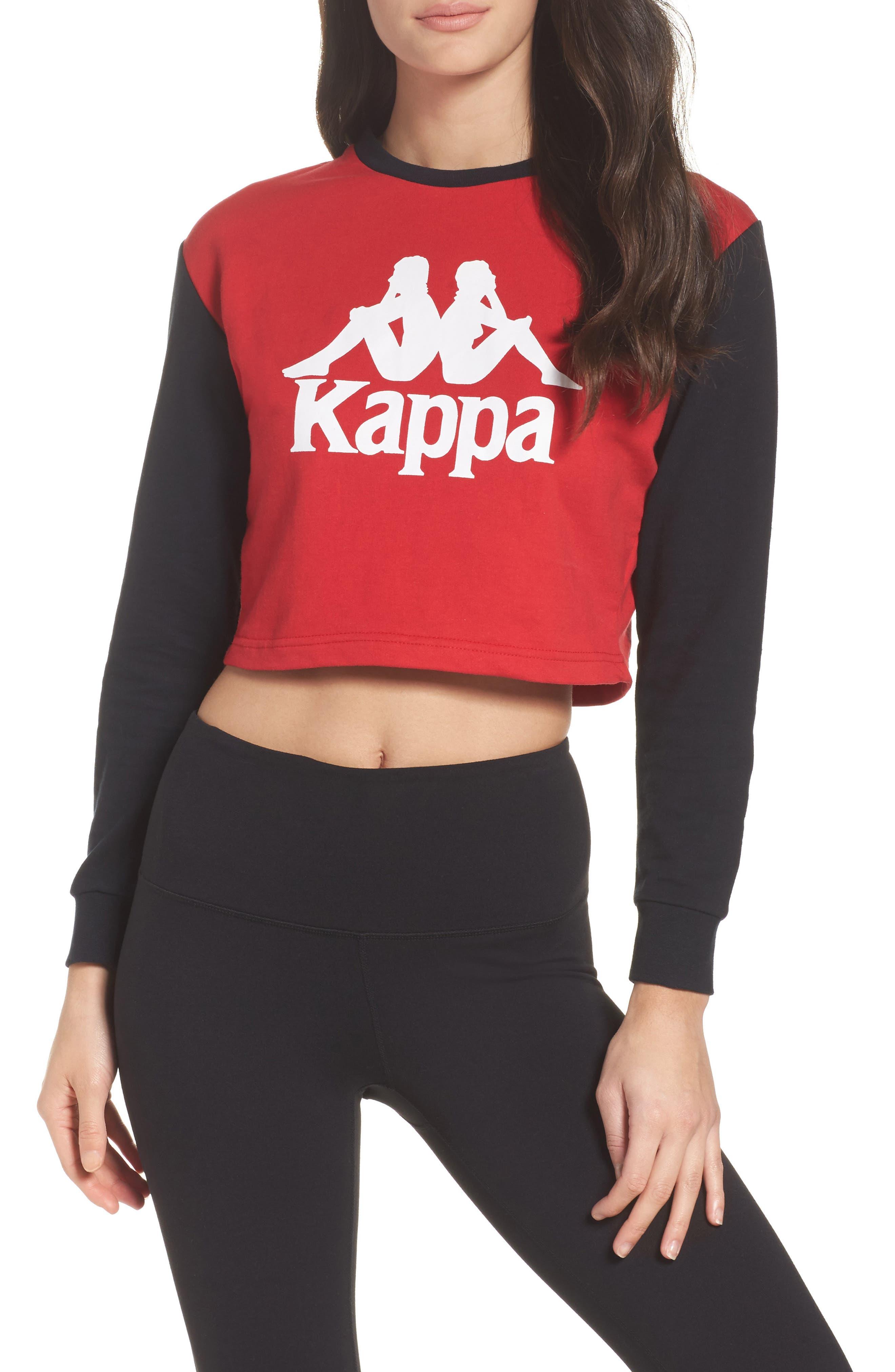 Authentic Crop Sweatshirt,                         Main,                         color, Black/ Red
