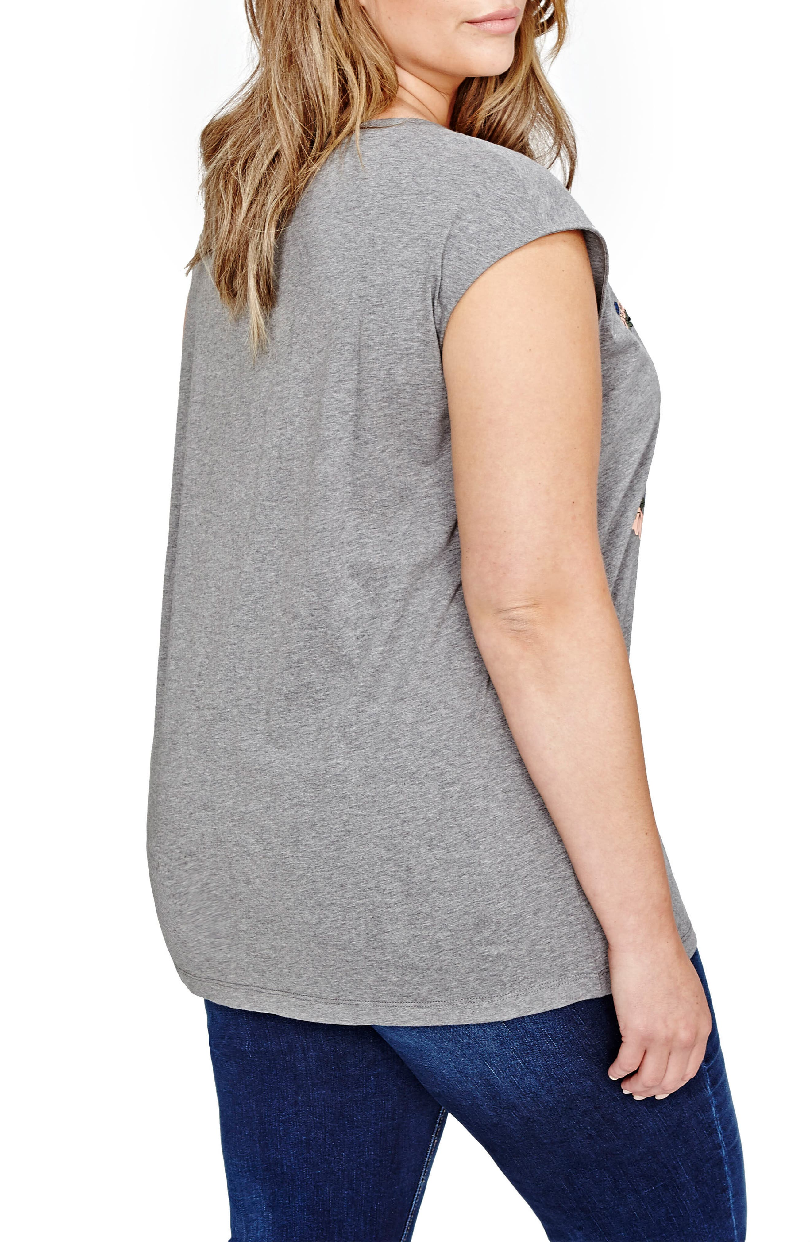 Flocked Tiger Graphic Tee,                             Alternate thumbnail 3, color,                             Med Grey