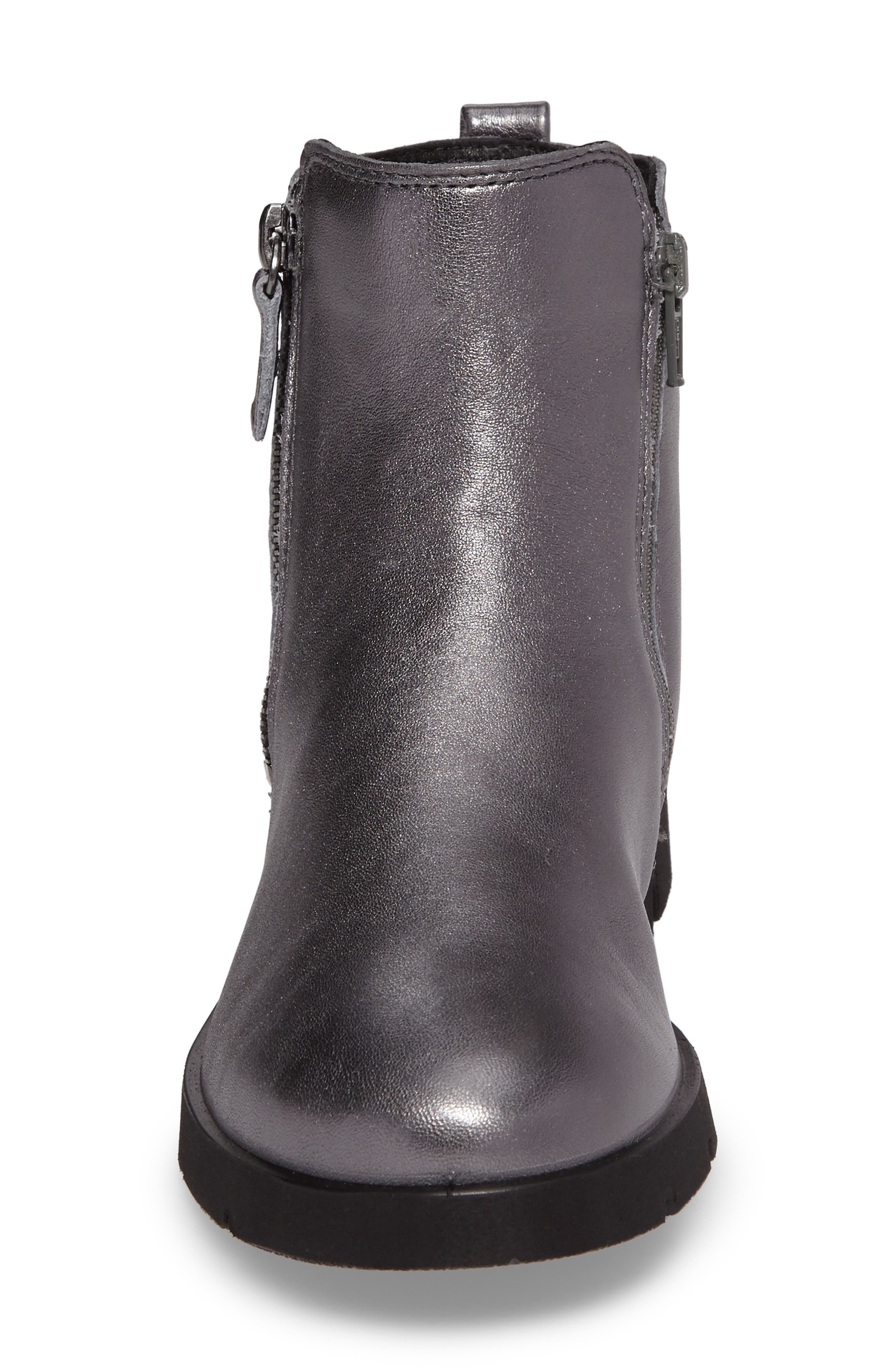 'Bella' Zip Bootie,                             Alternate thumbnail 4, color,                             Dark Shadow Leather