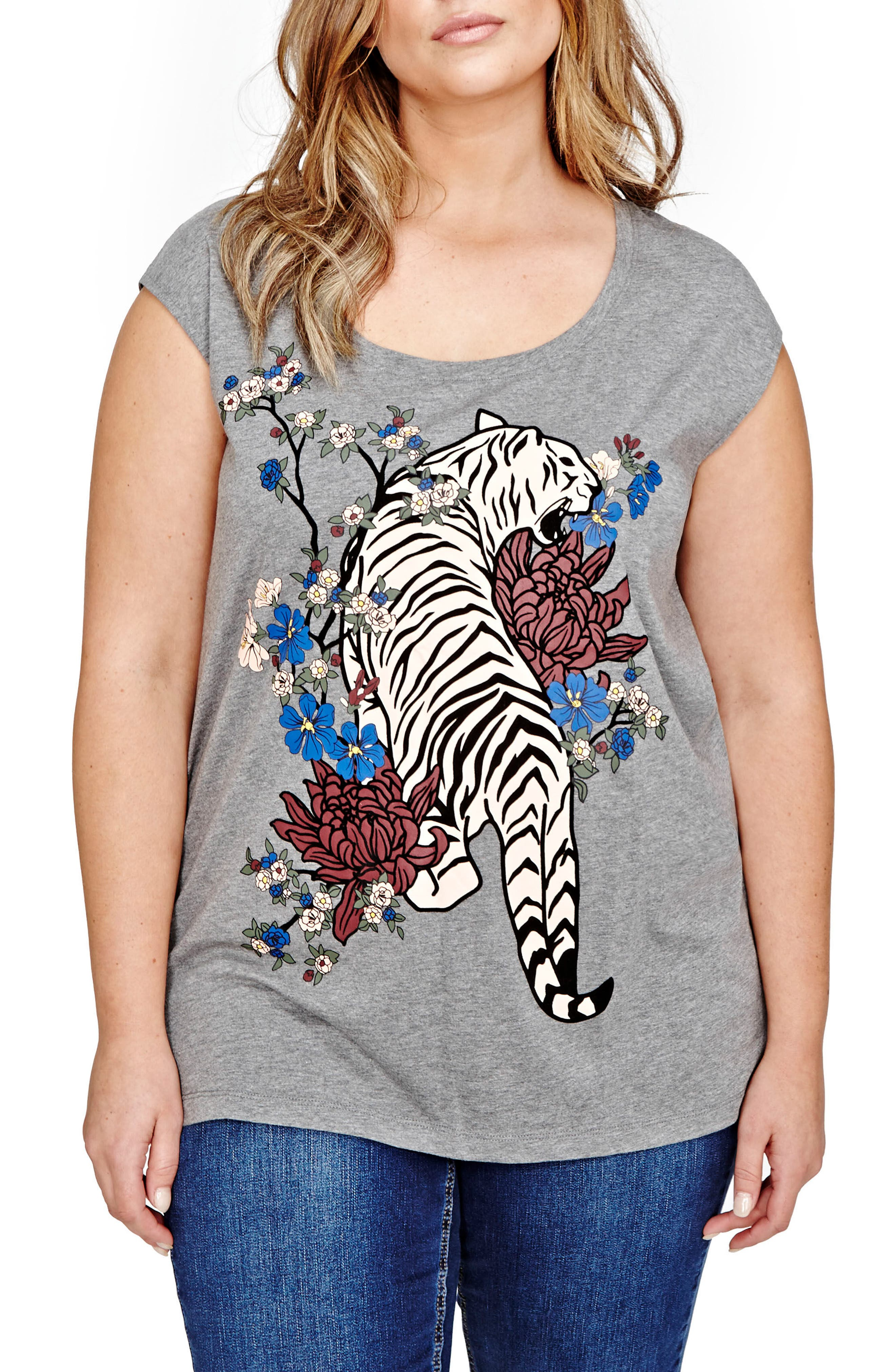 Main Image - ADDITION ELLE LOVE AND LEGEND Flocked Tiger Graphic Tee (Plus Size)
