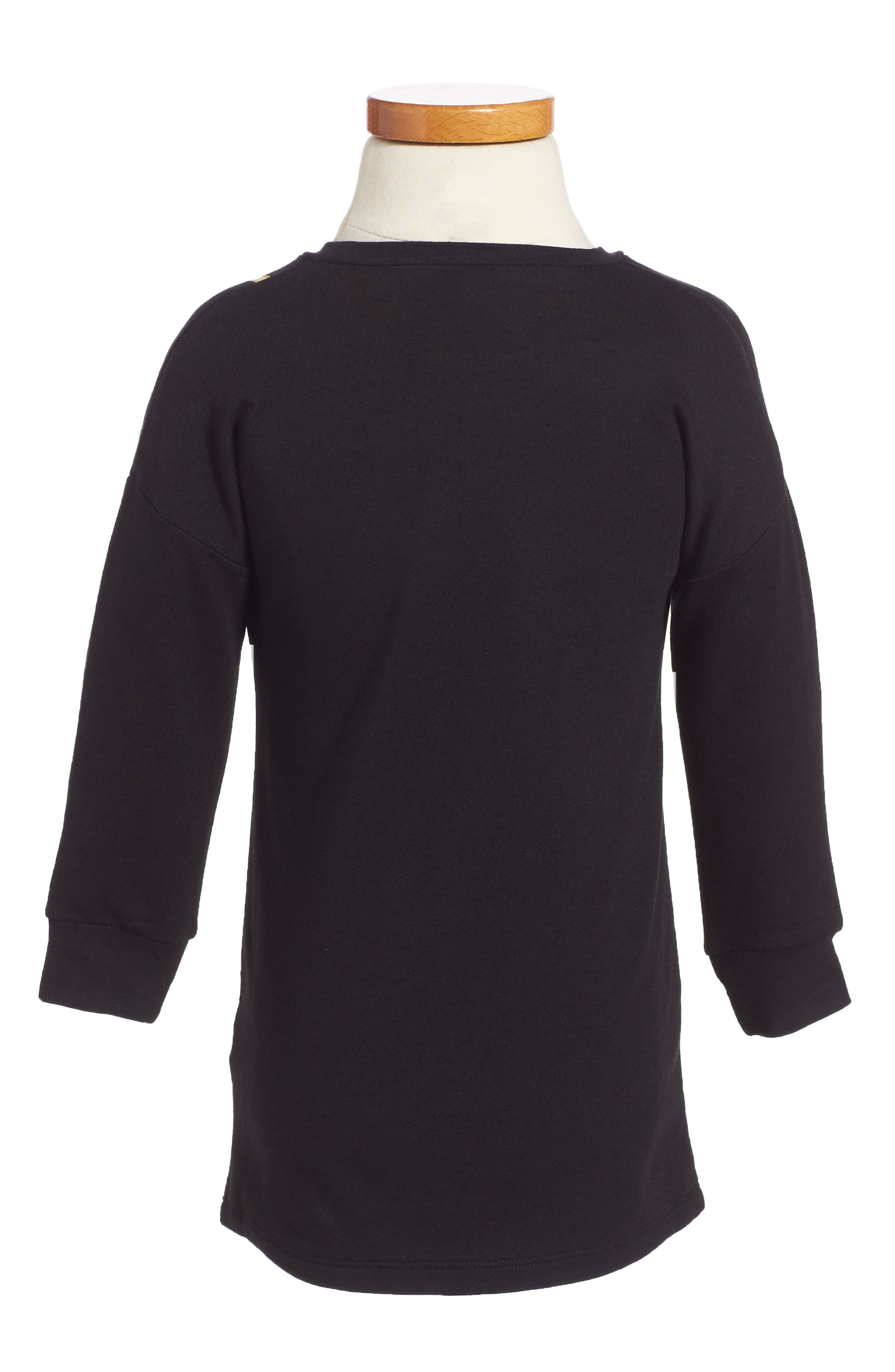 Trompe L'Oeil Sweatshirt Dress,                             Alternate thumbnail 2, color,                             Black