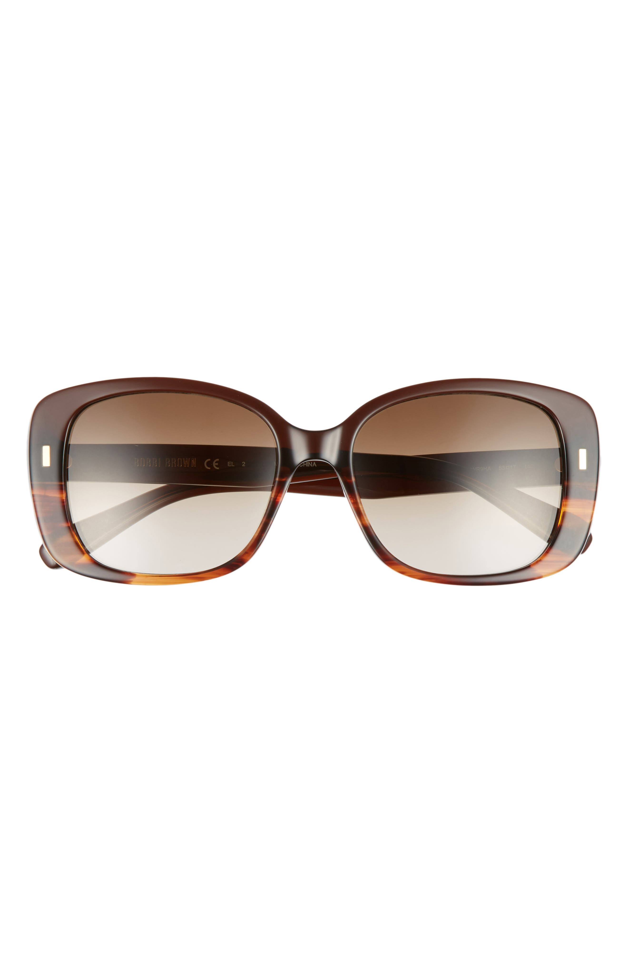 The Audrey 53mm Square Sunglasses,                             Alternate thumbnail 3, color,                             Brown Havana