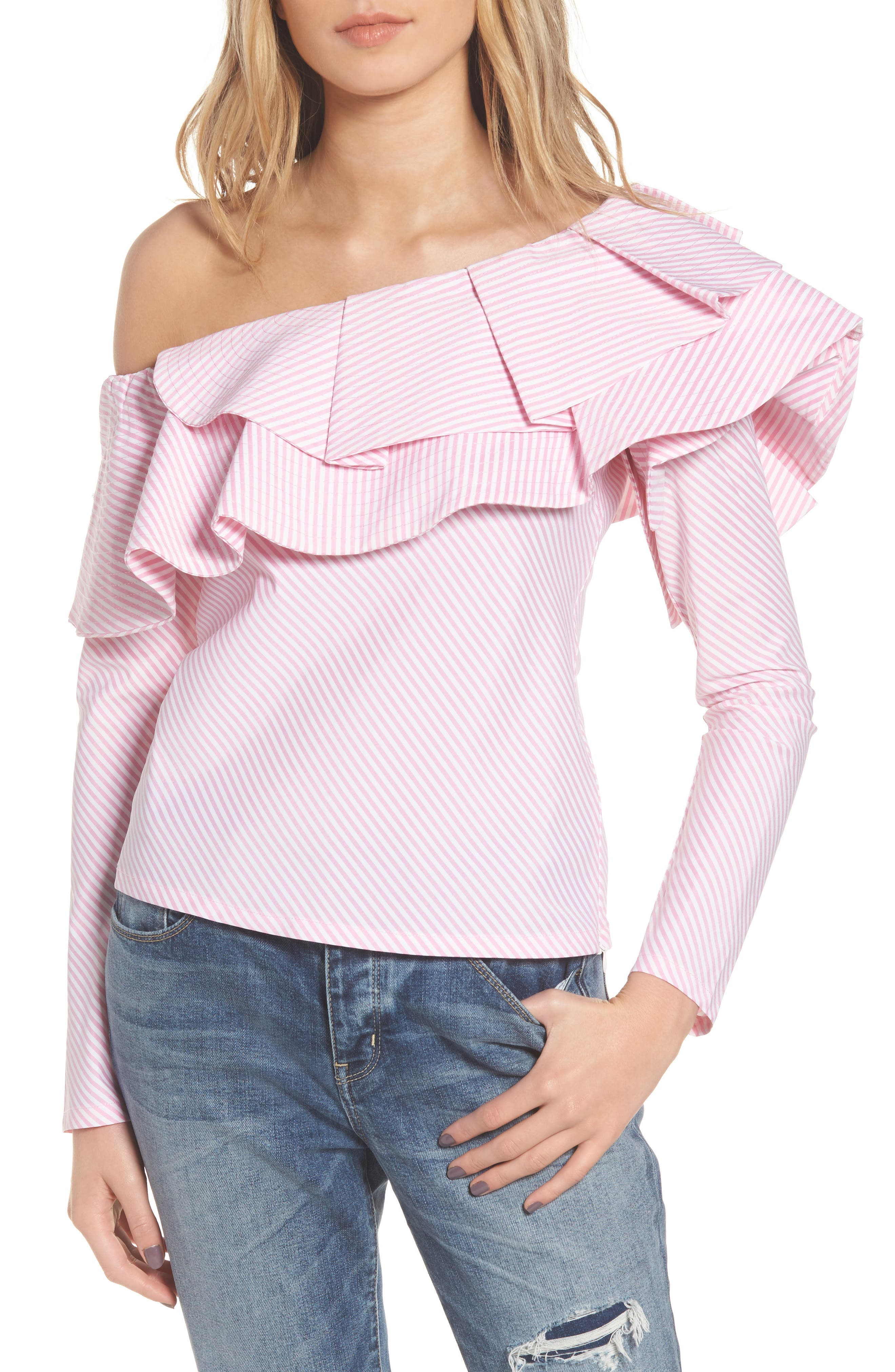 Think Fashion One-Shoulder Top,                         Main,                         color, Pinstriped Pink