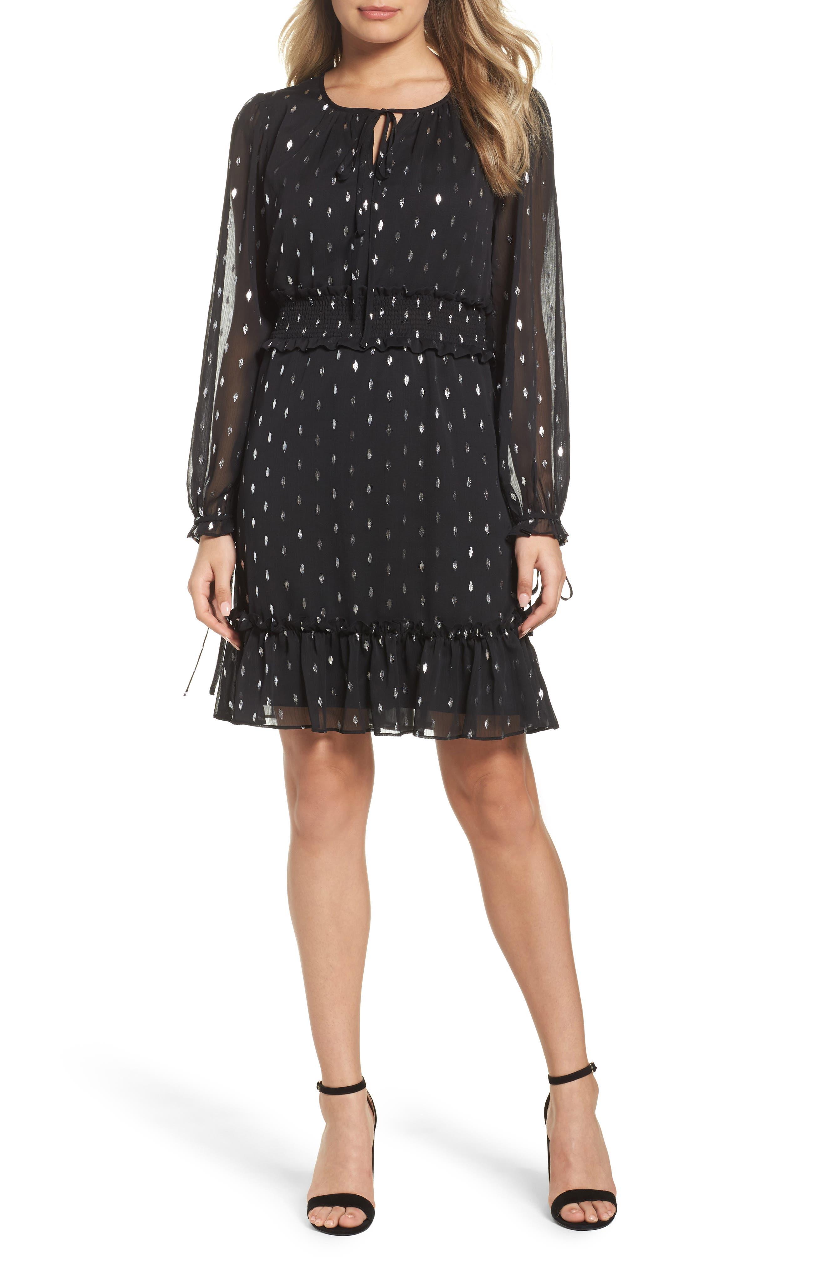 Metallic Smocked Dress,                         Main,                         color, Black/ Silver