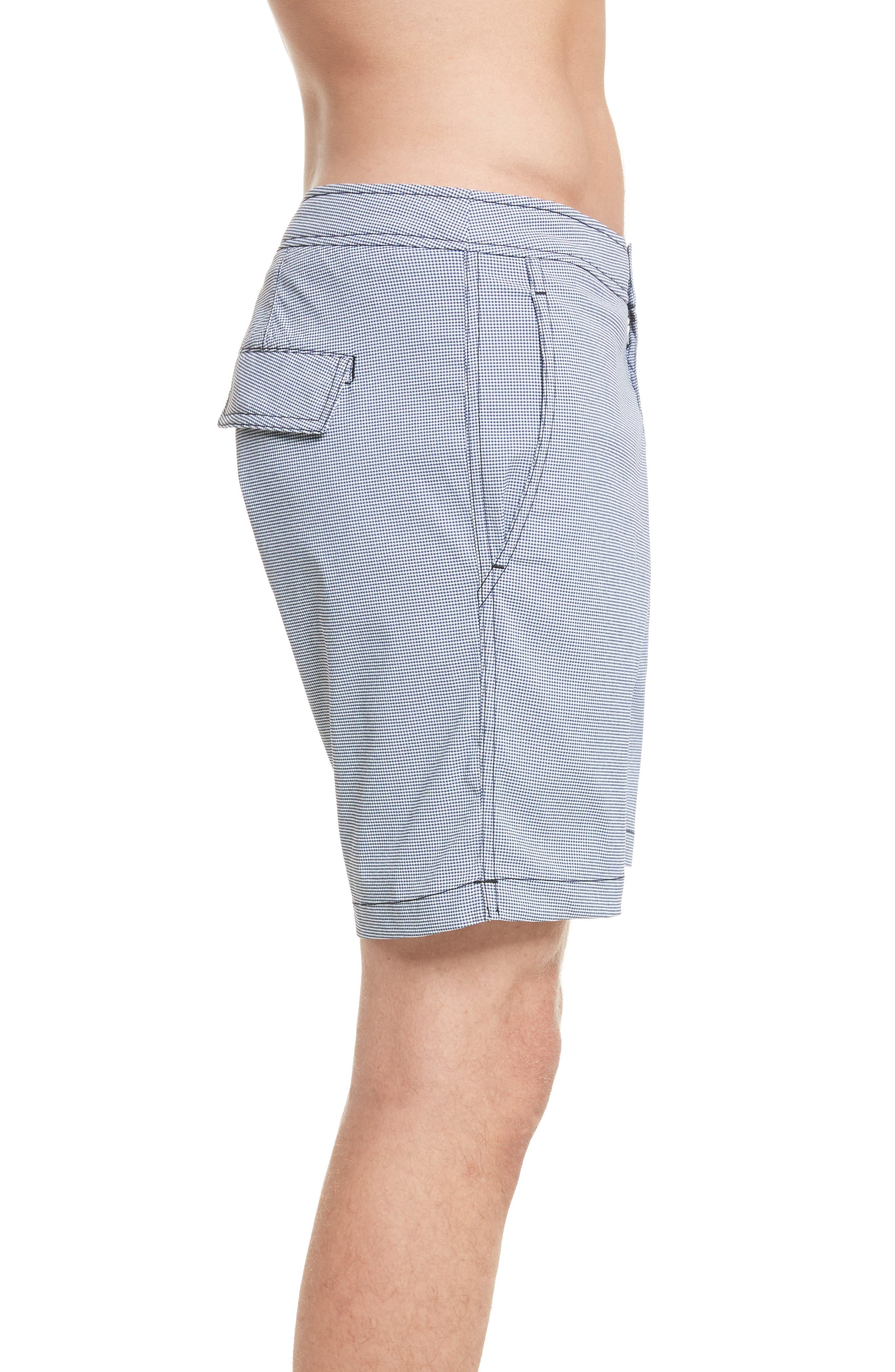 Calder Gingham Board Shorts,                             Alternate thumbnail 3, color,                             Deep Navy/White