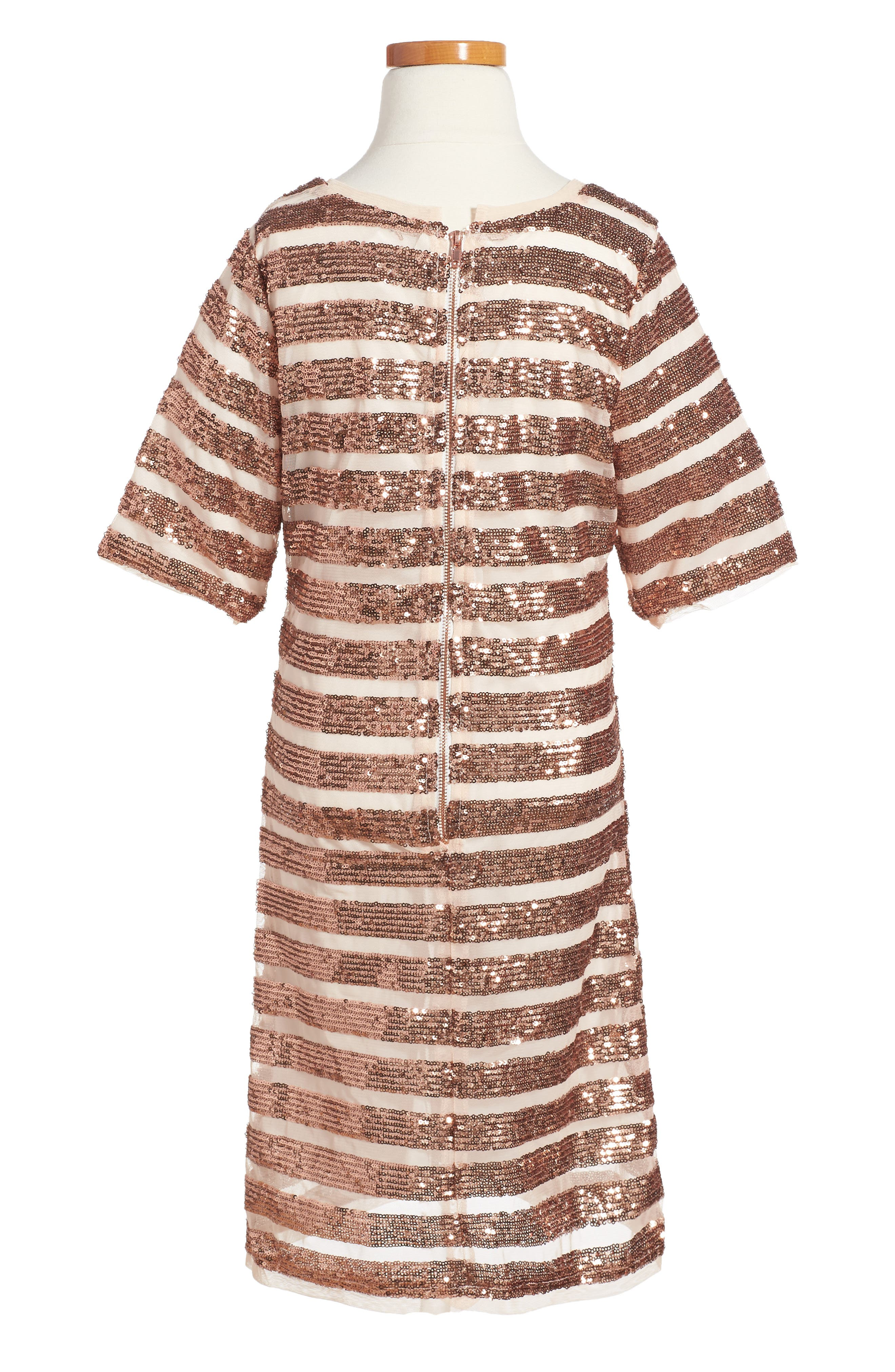 Alexa Sequin Dress,                             Alternate thumbnail 2, color,                             Copper
