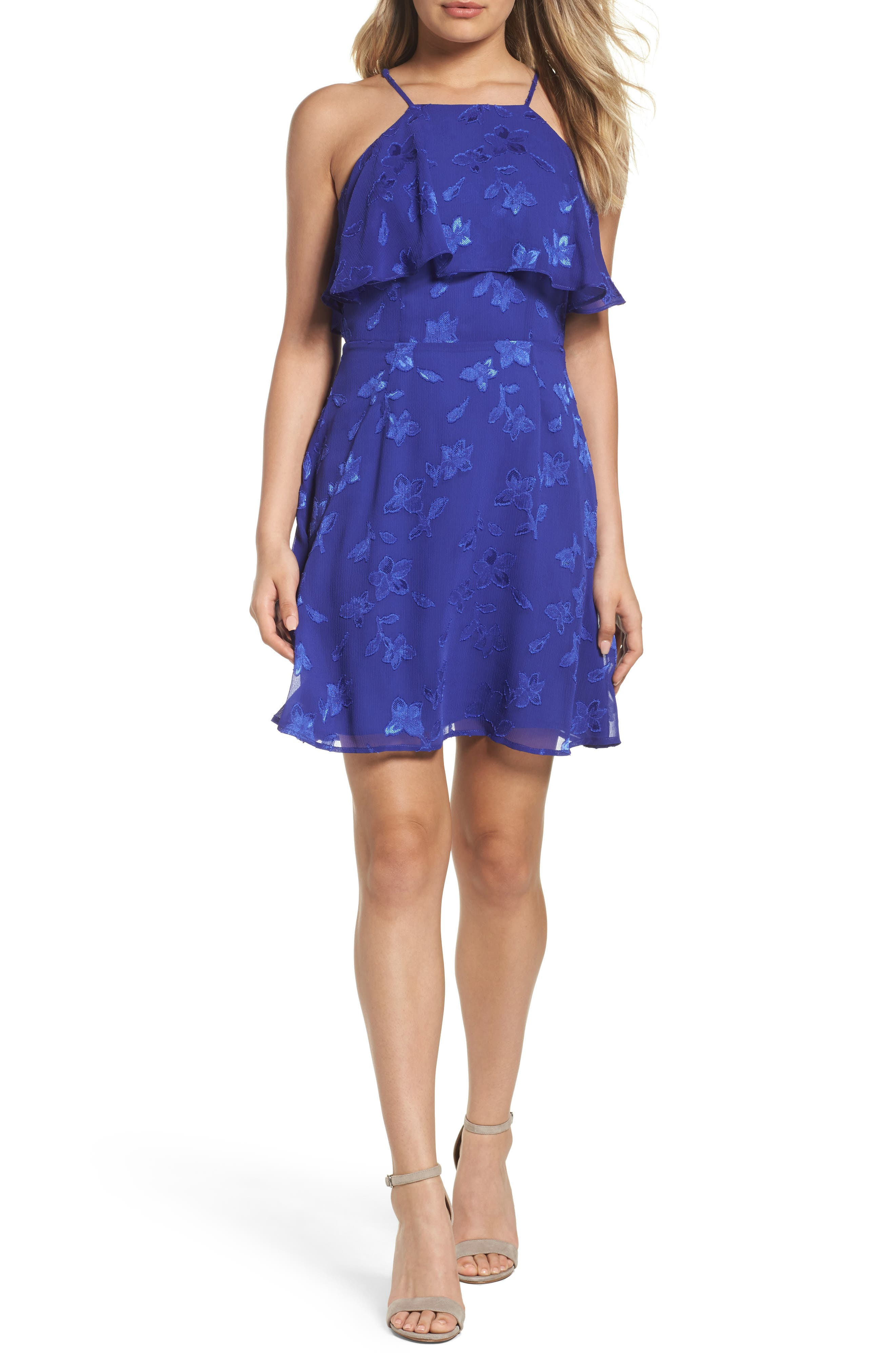 Jacquard Flower Popover Dress,                         Main,                         color, Cobalt