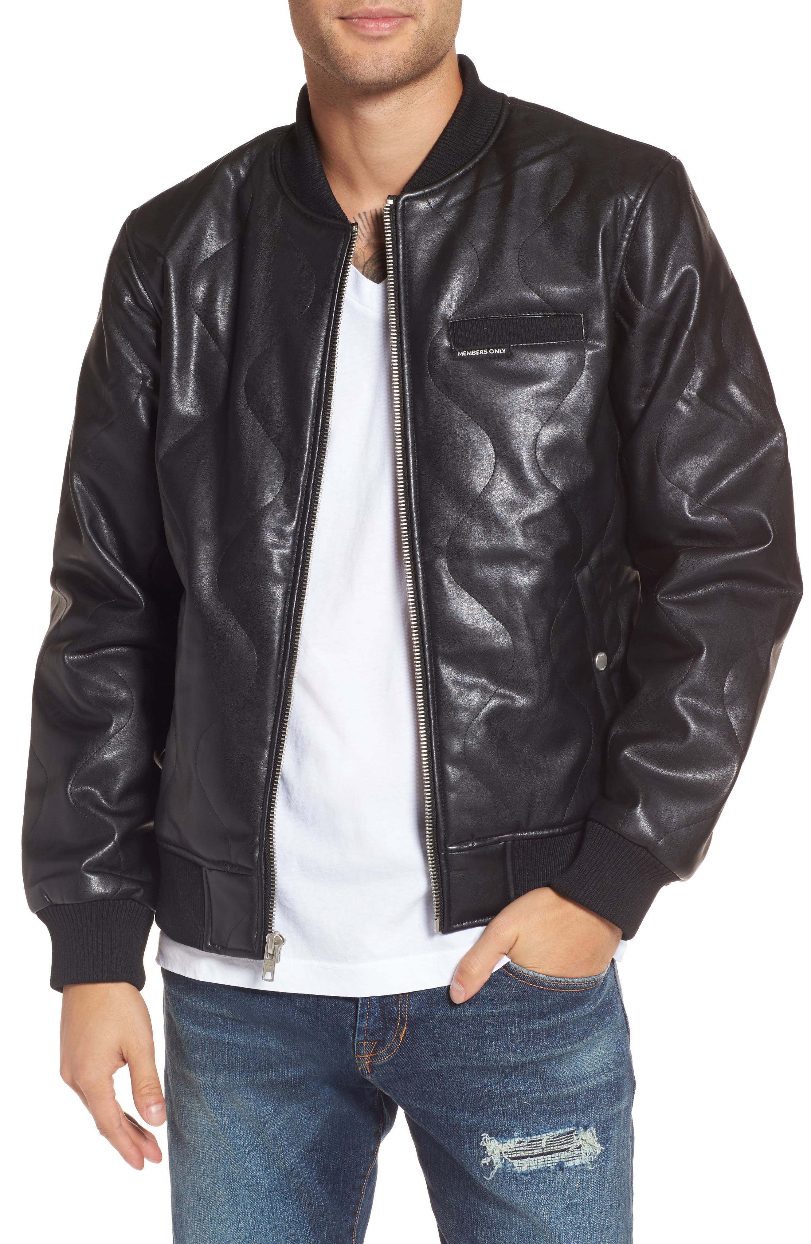 Quilted Faux Leather Bomber Jacket,                         Main,                         color, Black