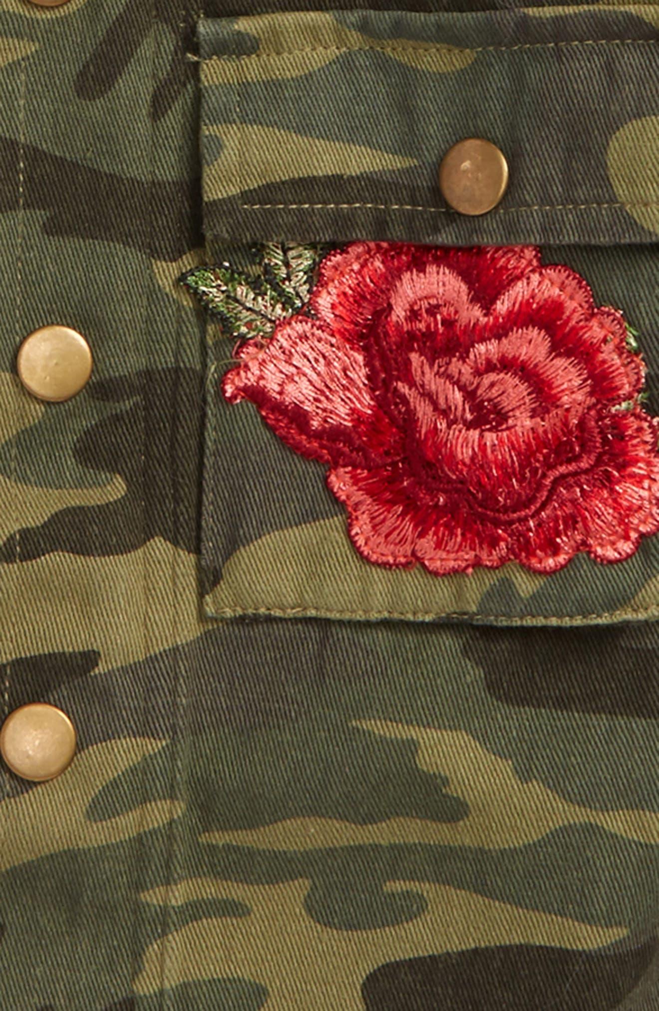 Alternate Image 2  - Kiddo Embroidered Camo Shirt Jacket (Big Girls)