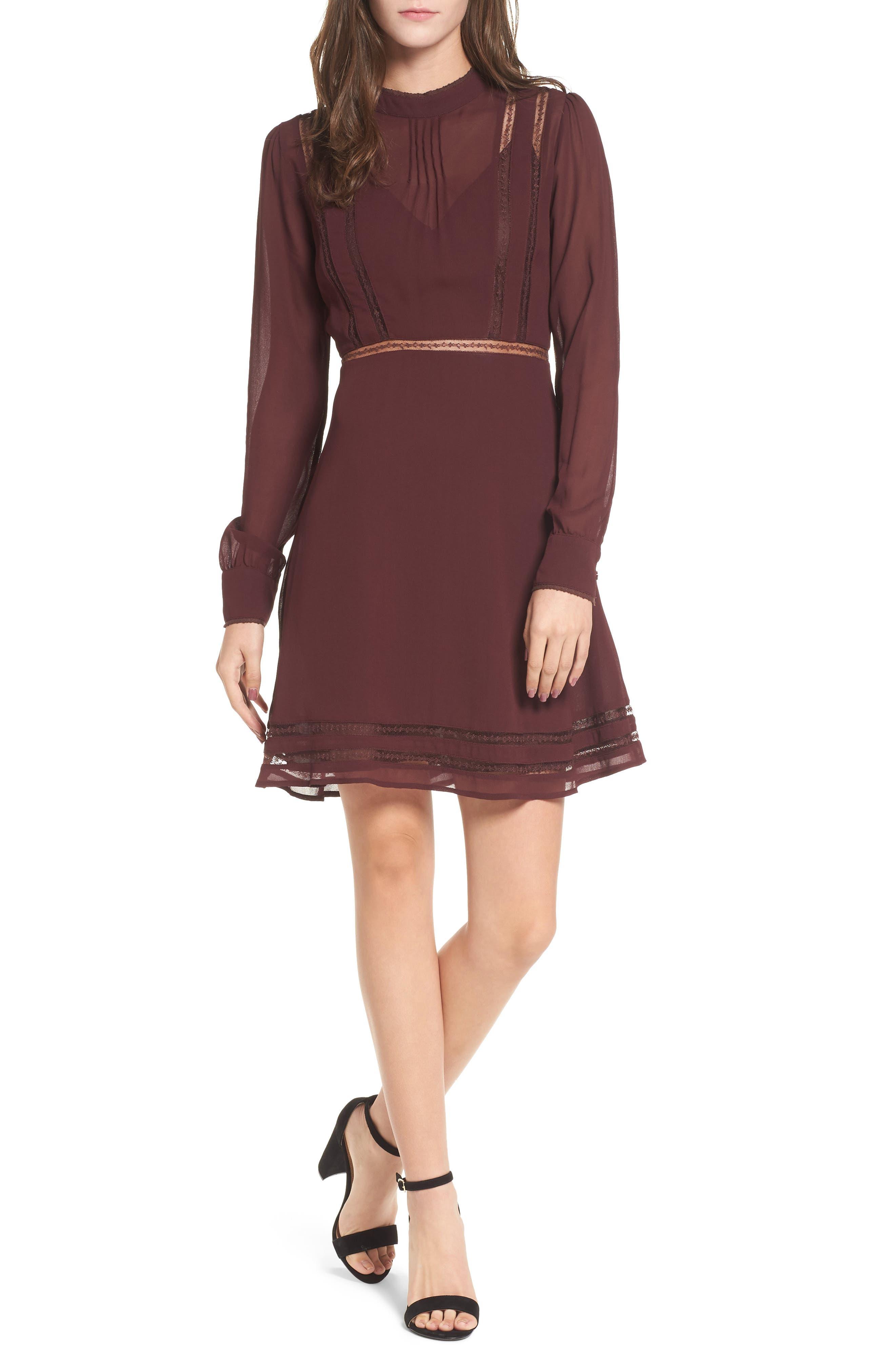 Kirsten A-Line Dress,                         Main,                         color, Wine
