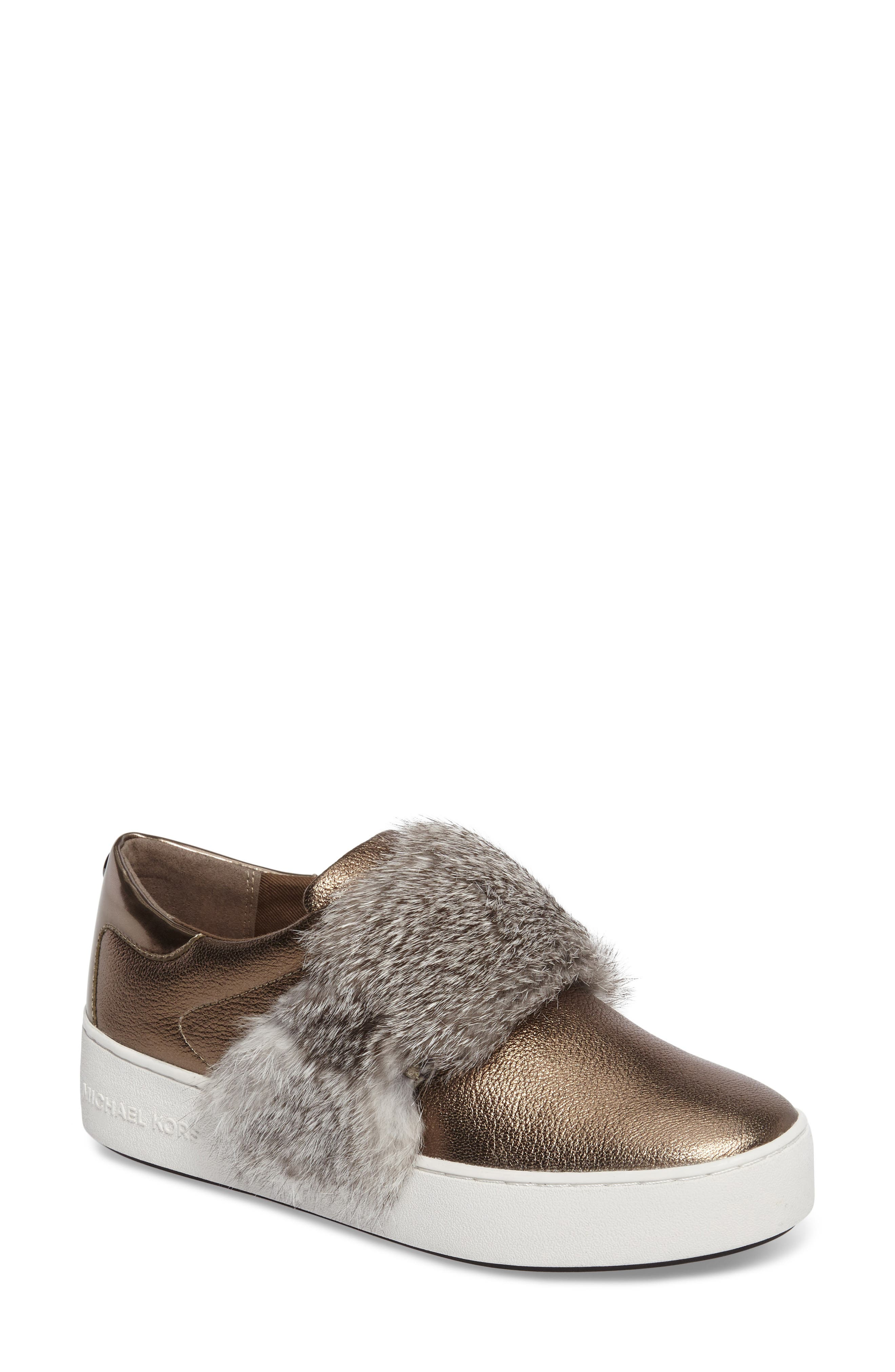 Alternate Image 1 Selected - MICHAEL Michael Kors Maven Genuine Rabbit Fur Sneaker (Women)
