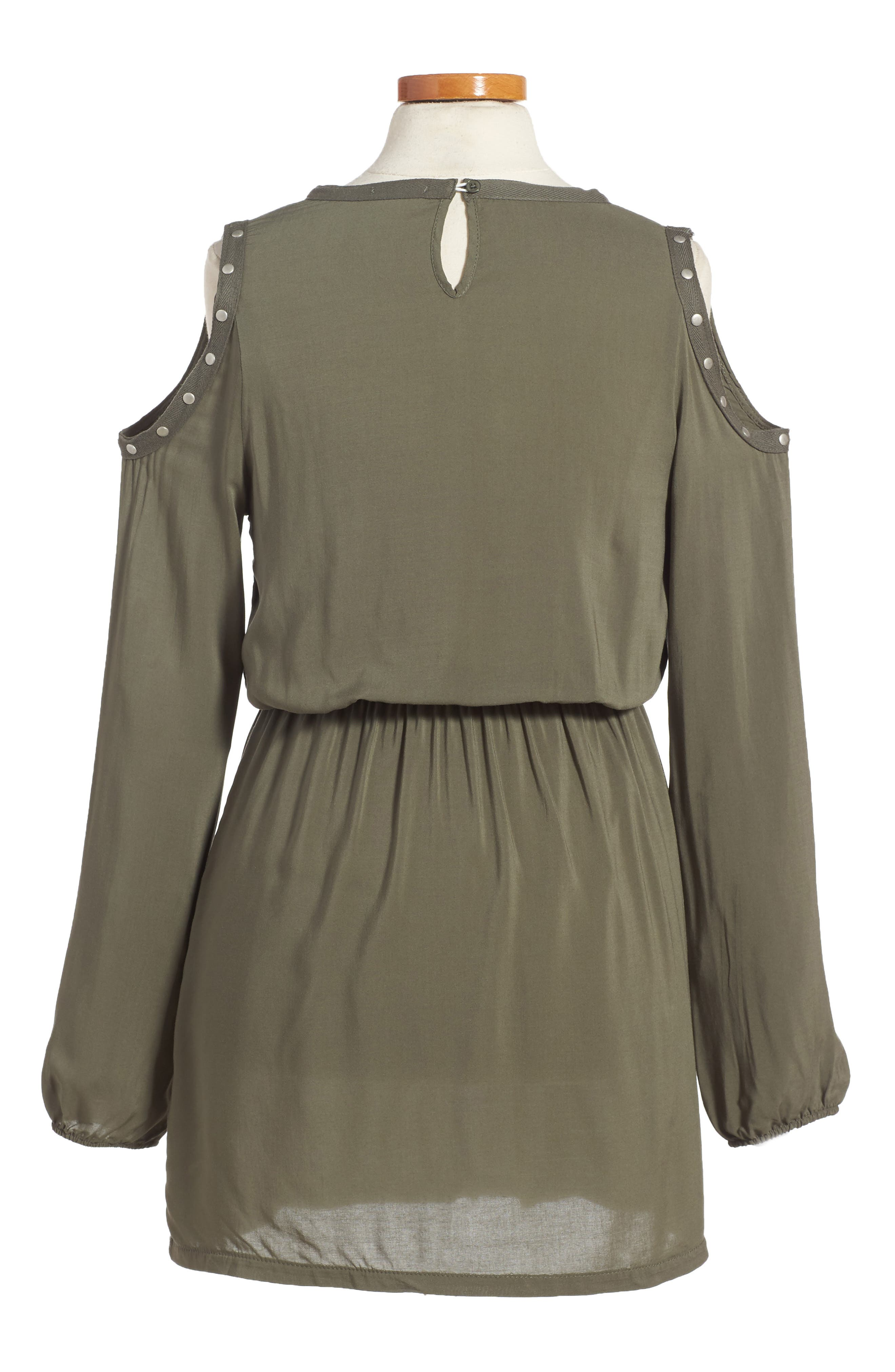 Grommet Cold Shoulder Dress,                             Alternate thumbnail 2, color,                             Olive Green