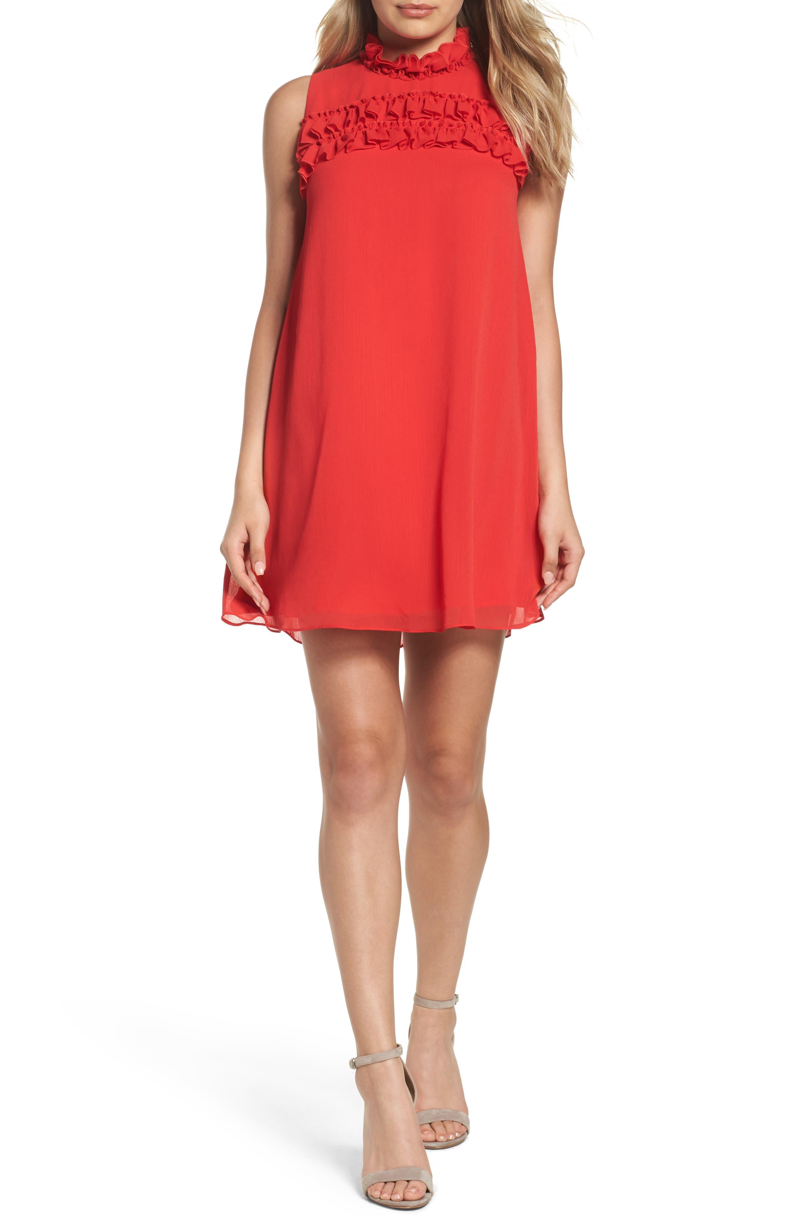 Hanson Trapeze Dress,                         Main,                         color, Rose Red