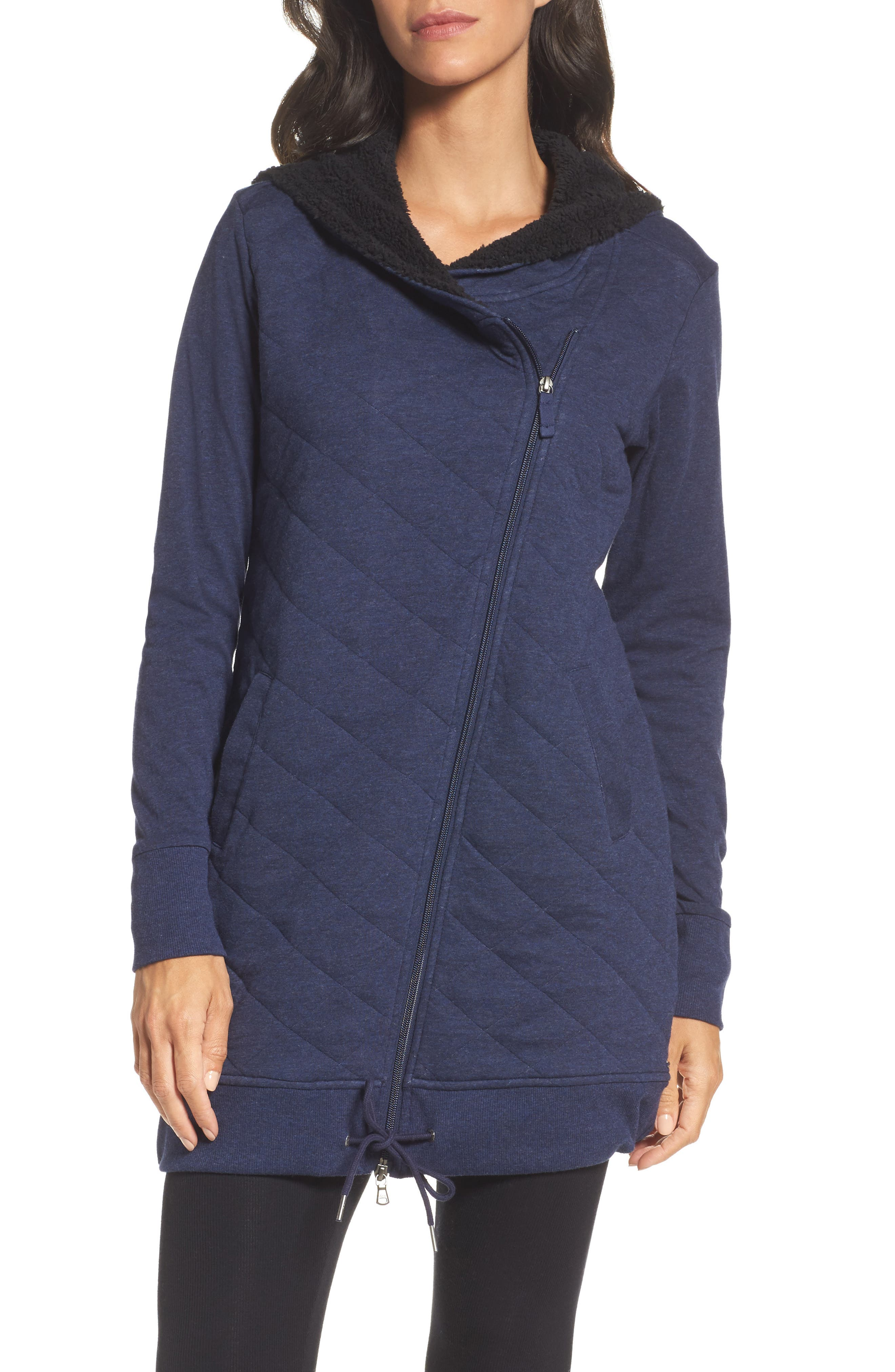 'Kayla' Quilted Hoodie,                         Main,                         color, Navy Heather