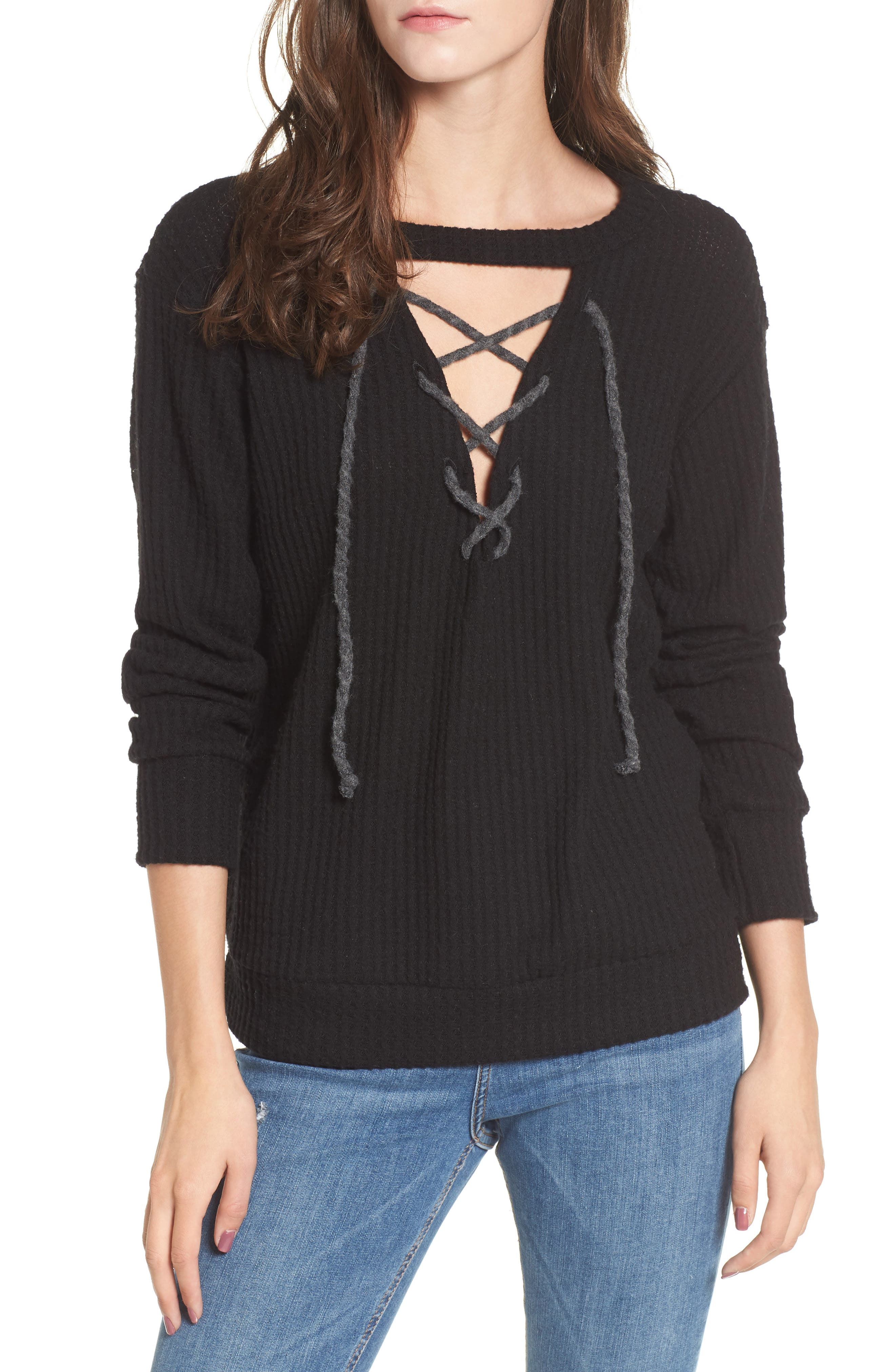 Lace-Up Waffle Knit Sweater,                             Main thumbnail 1, color,                             Black