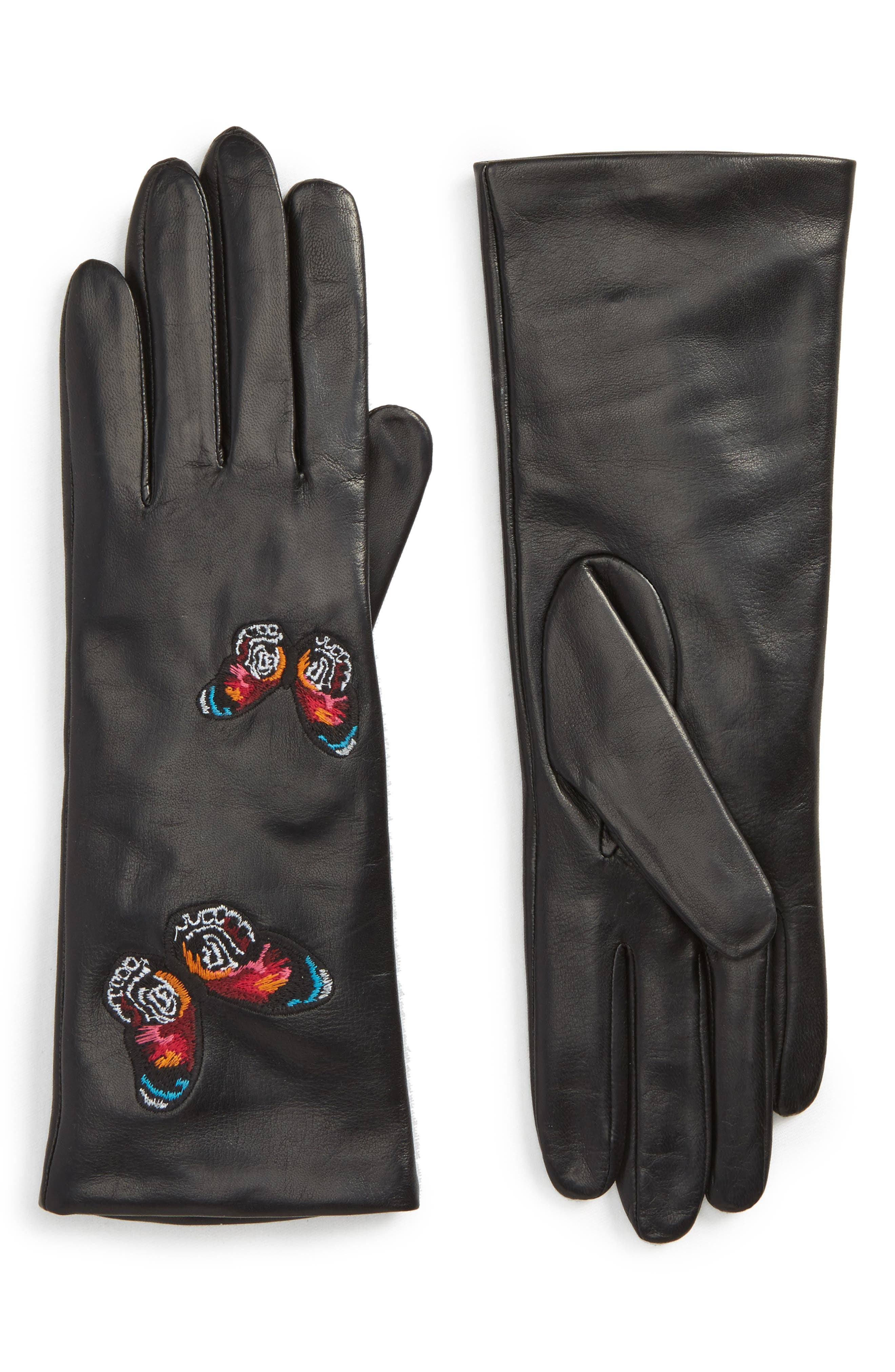 Embroidered Leather Gloves,                         Main,                         color, Black M