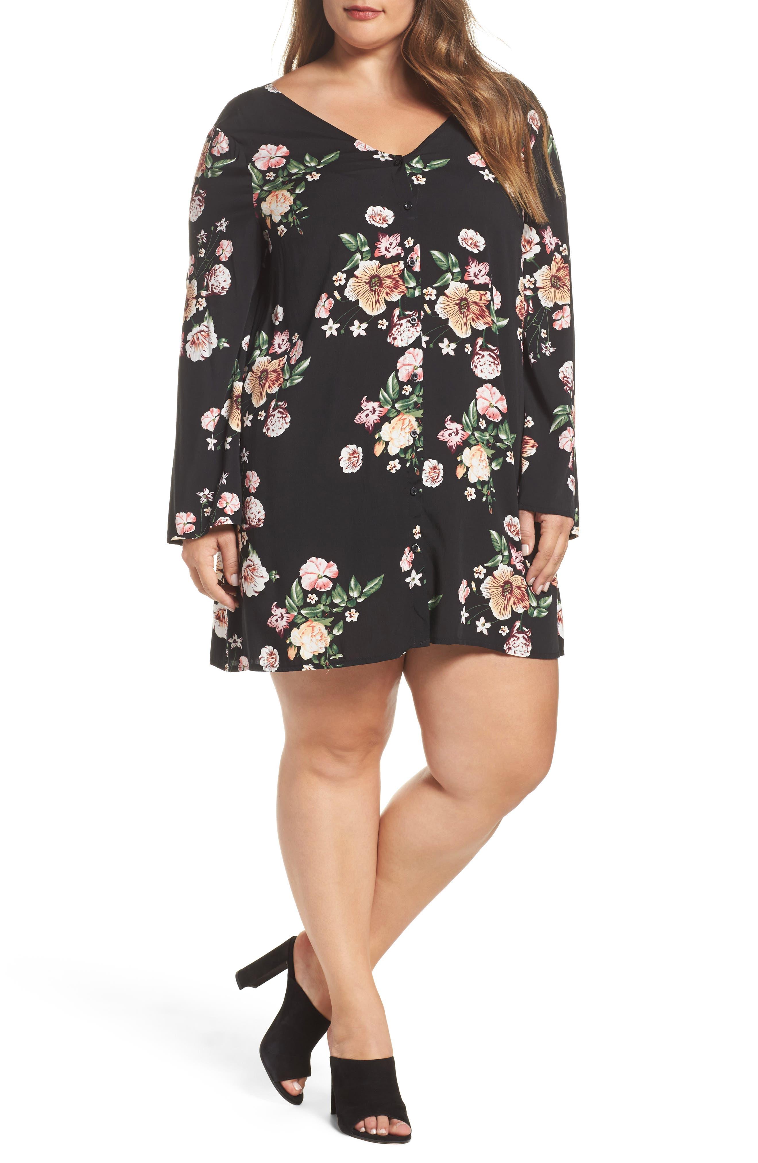 Bell Sleeve Floral Shift Dress,                         Main,                         color, Black Tropic Flower