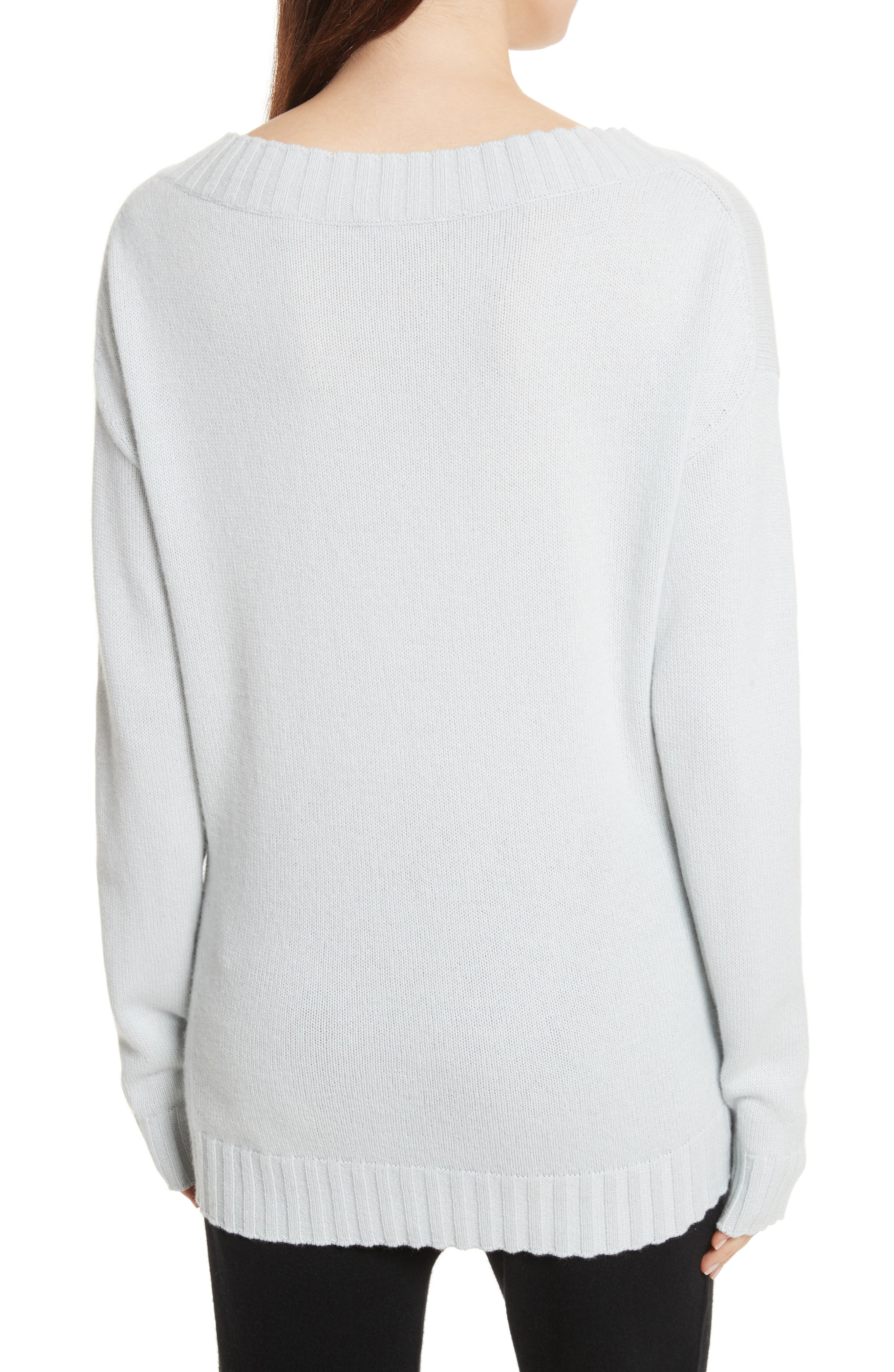 Off the Shoulder Wool & Cashmere Sweater,                             Alternate thumbnail 2, color,                             Sea