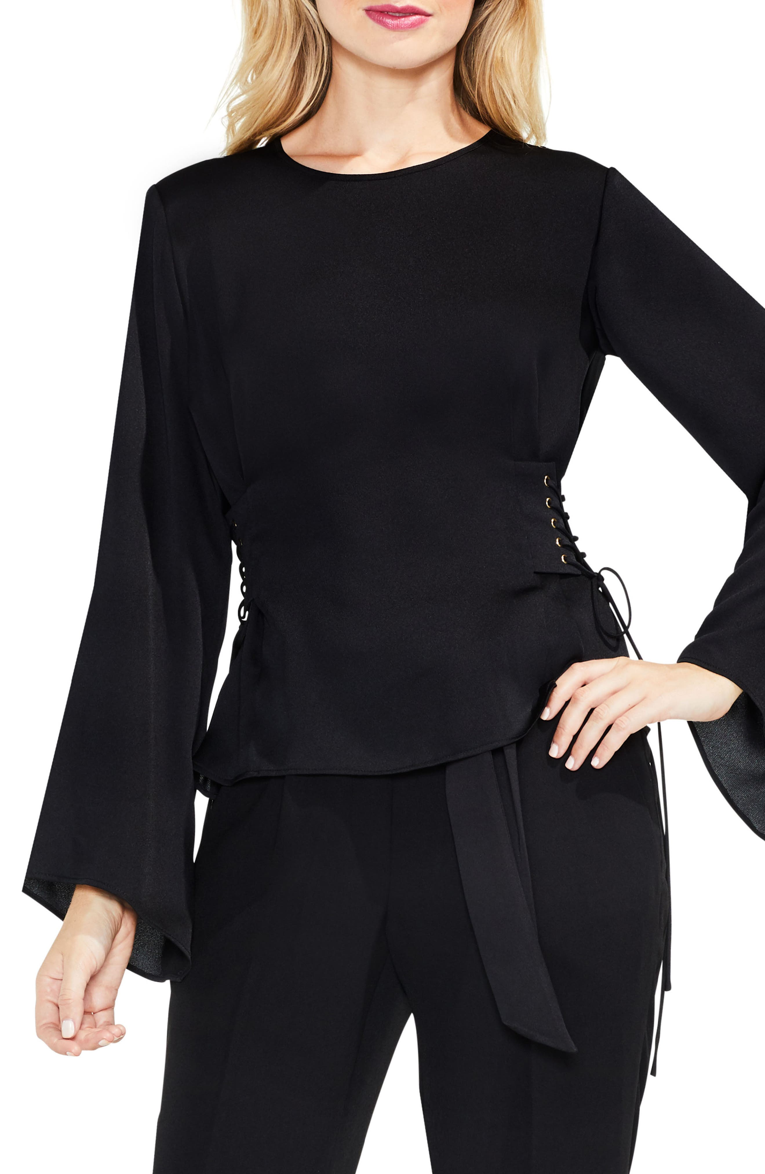 Bell Sleeve Side Lace-Up Blouse,                         Main,                         color, Rich Black