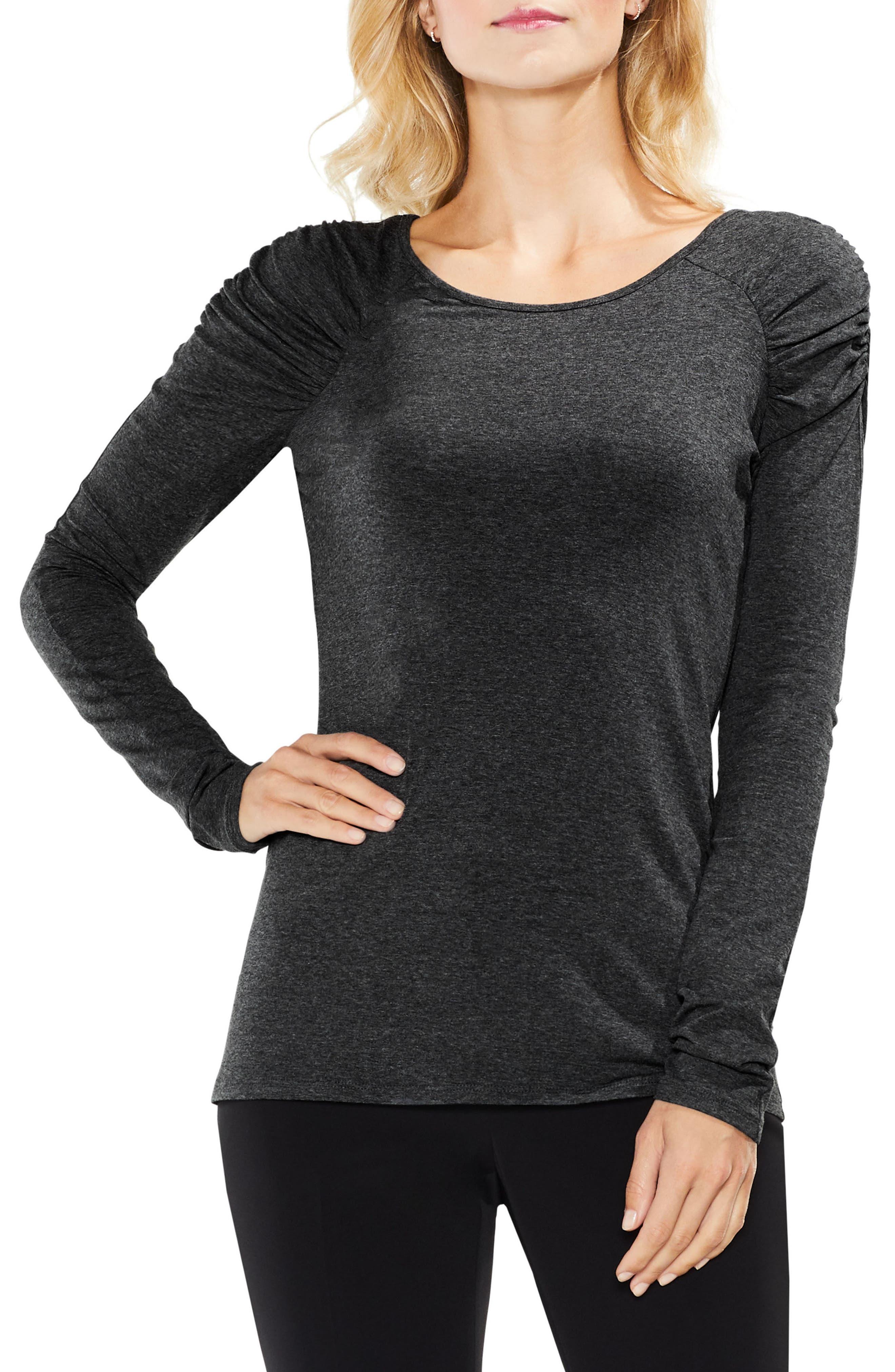 Ruched Shoulder Top,                         Main,                         color, Medium Heather Grey