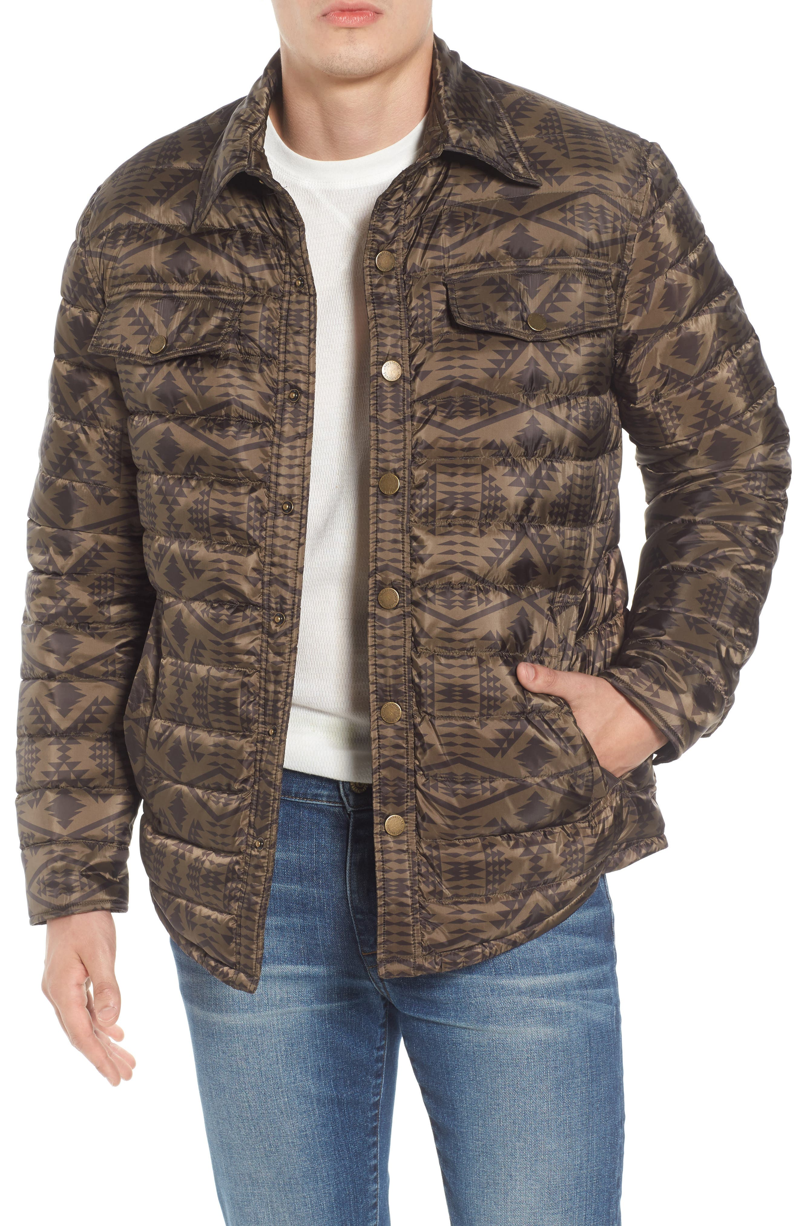 Moab Water Resistant Down Shirt Jacket,                         Main,                         color, Olive Jacquard