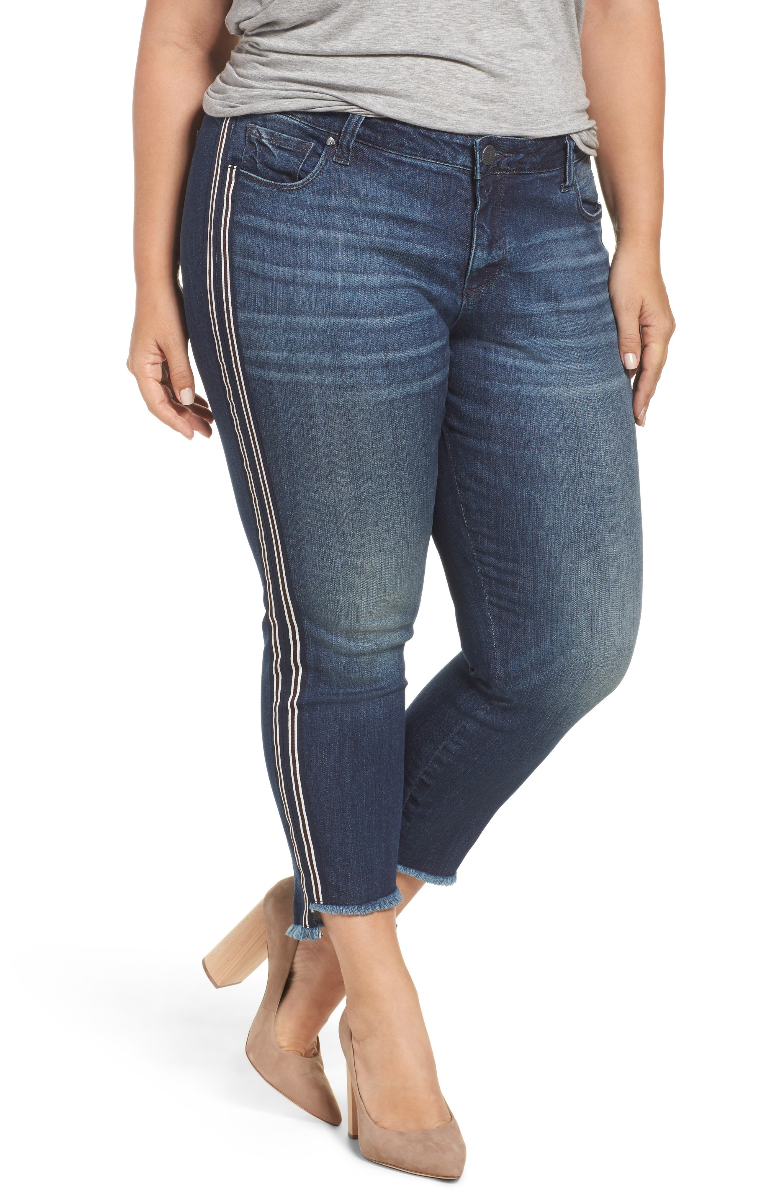 Alternate Image 1 Selected - KUT from the Kloth Reese Side Stripe Uneven Ankle Jeans (Analyzed) (Plus Size)