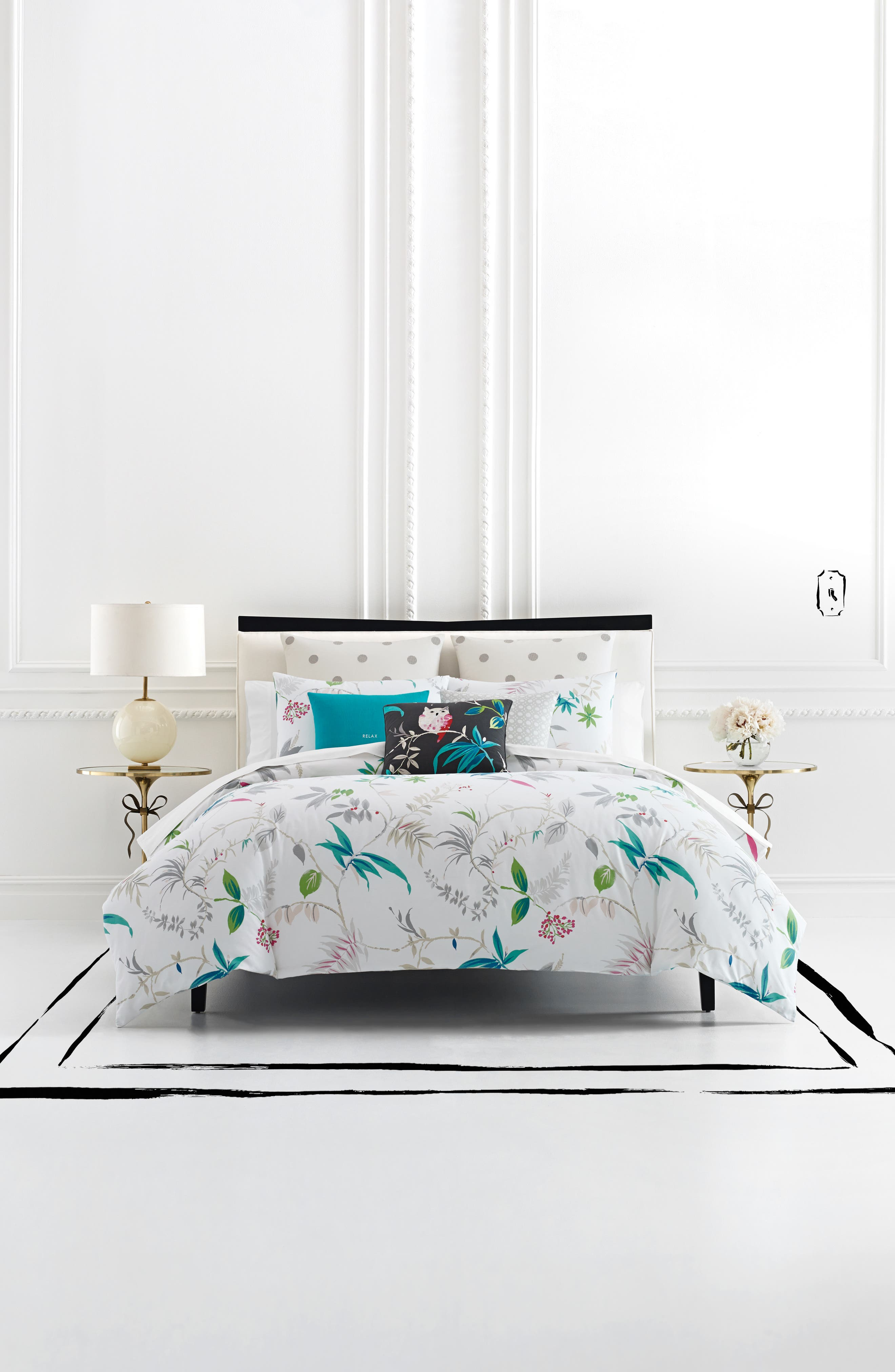 suede white floral wall long pink spade rug small bedroom black painted curtain contemporary set kate table with bedding lamp