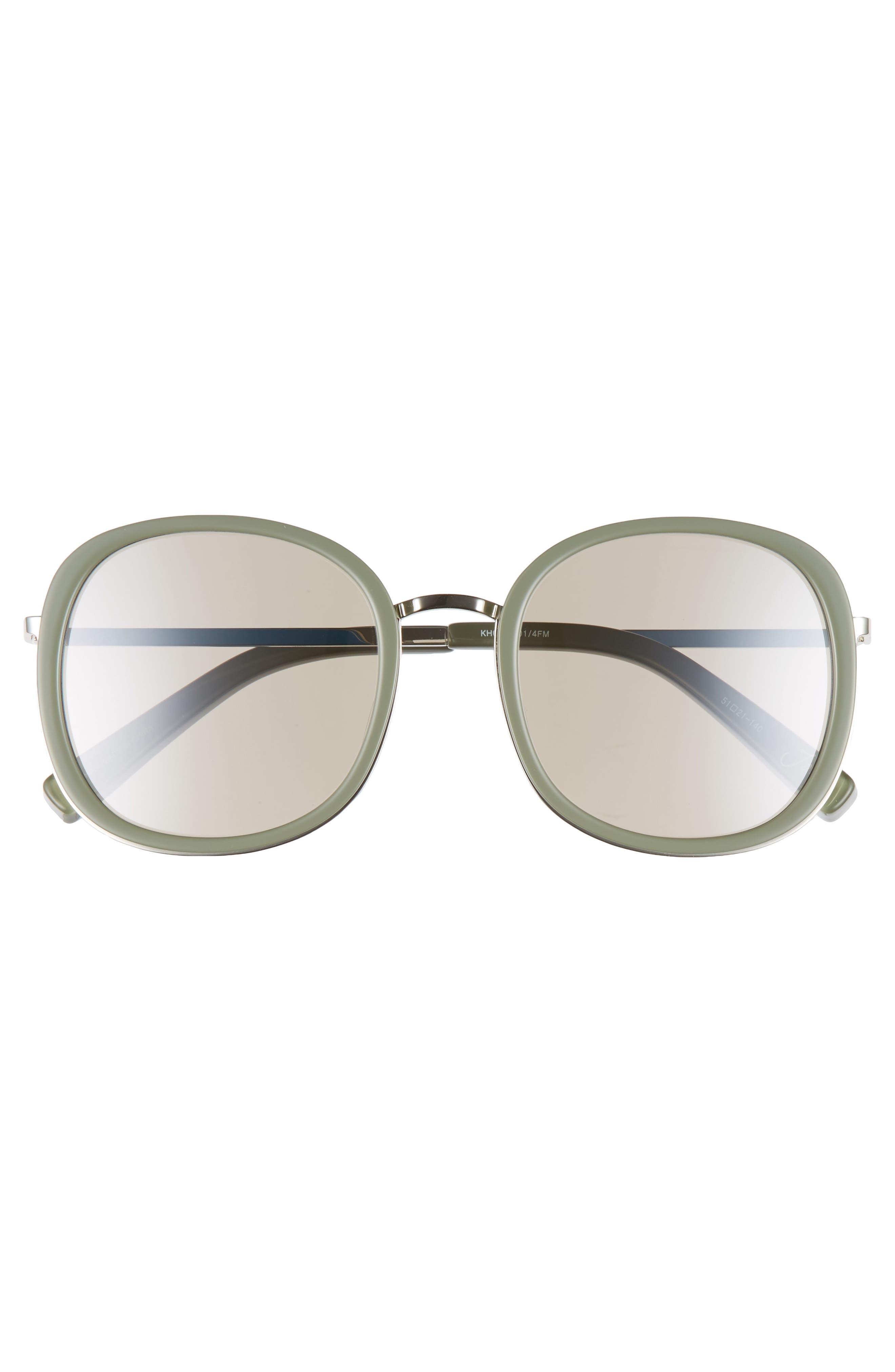Jones 51mm Round Sunglasses,                             Alternate thumbnail 3, color,                             Khaki And Silver