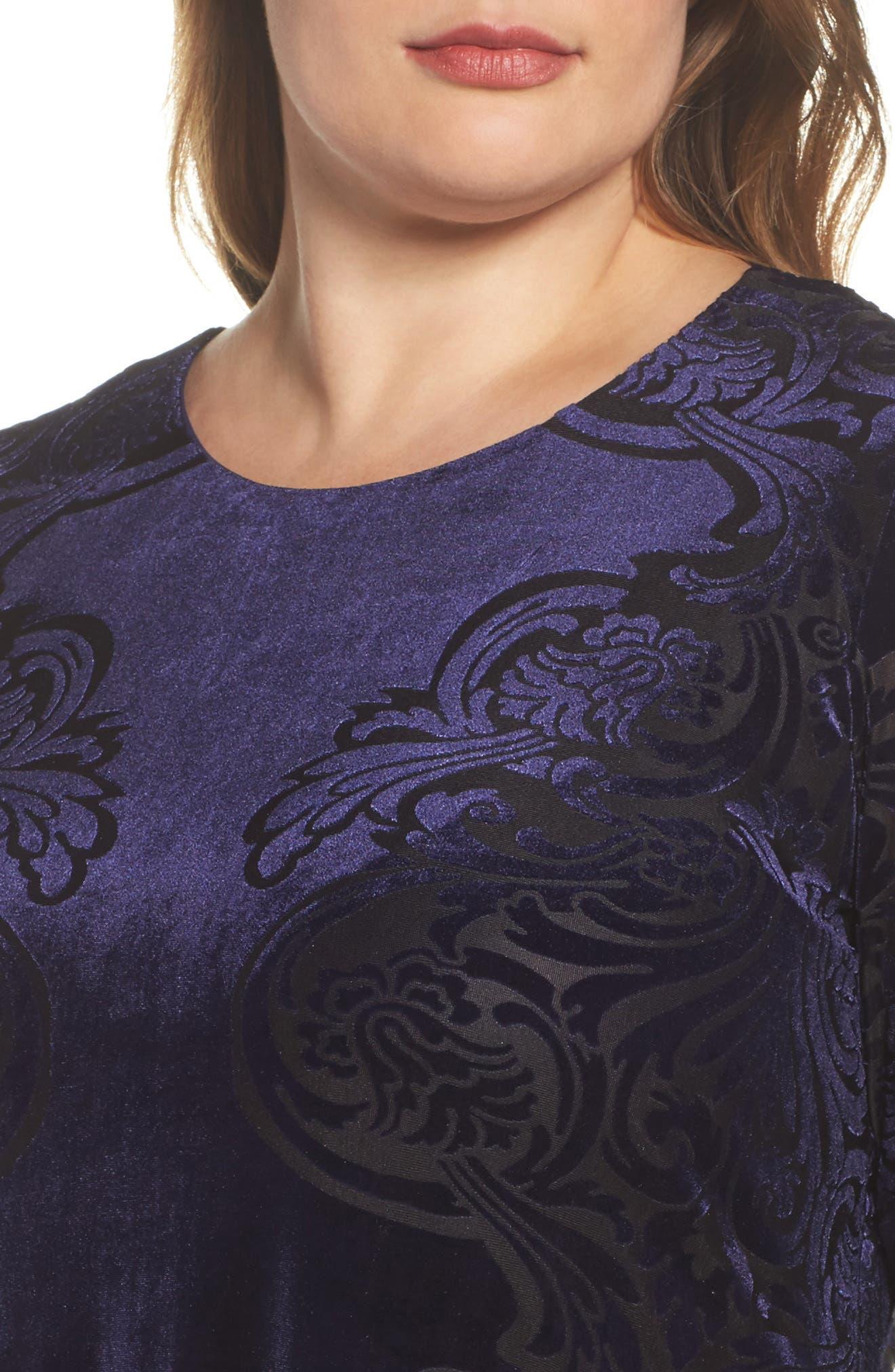 Alternate Image 4  - Eliza J Burnout Velvet Shift Dress (Plus Szie)