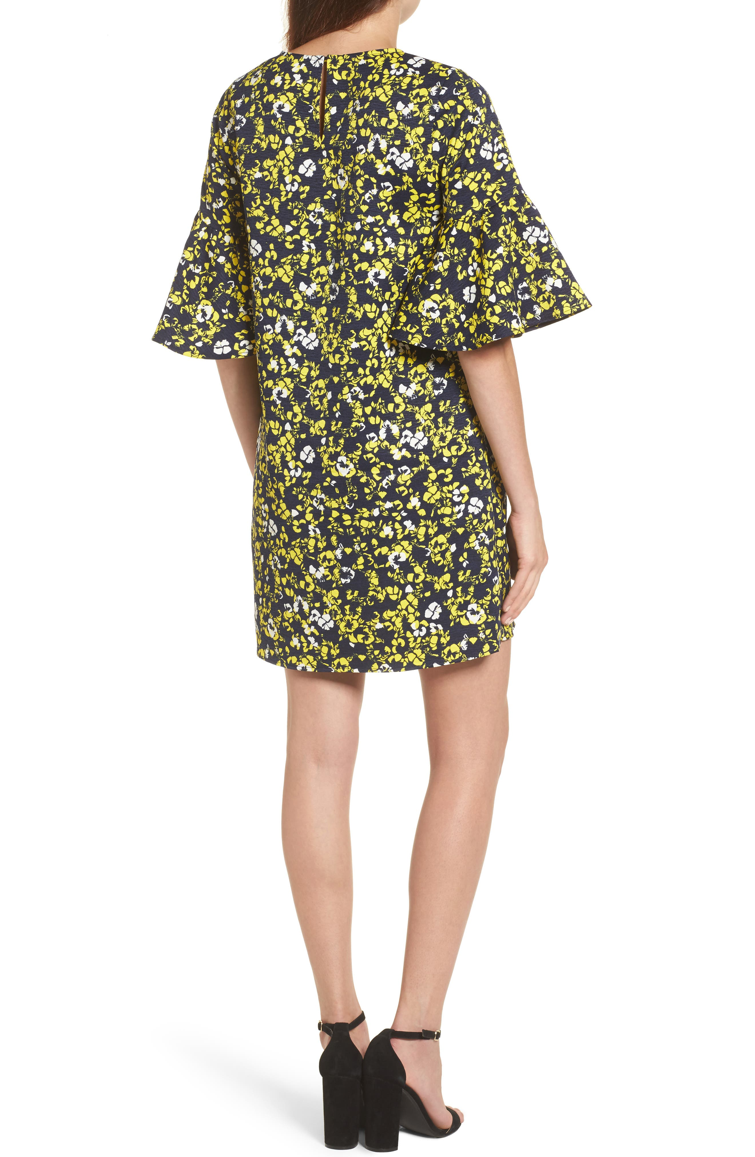 Ruffle Sleeve Shift Dress,                             Alternate thumbnail 2, color,                             Navy- Yellow Floral