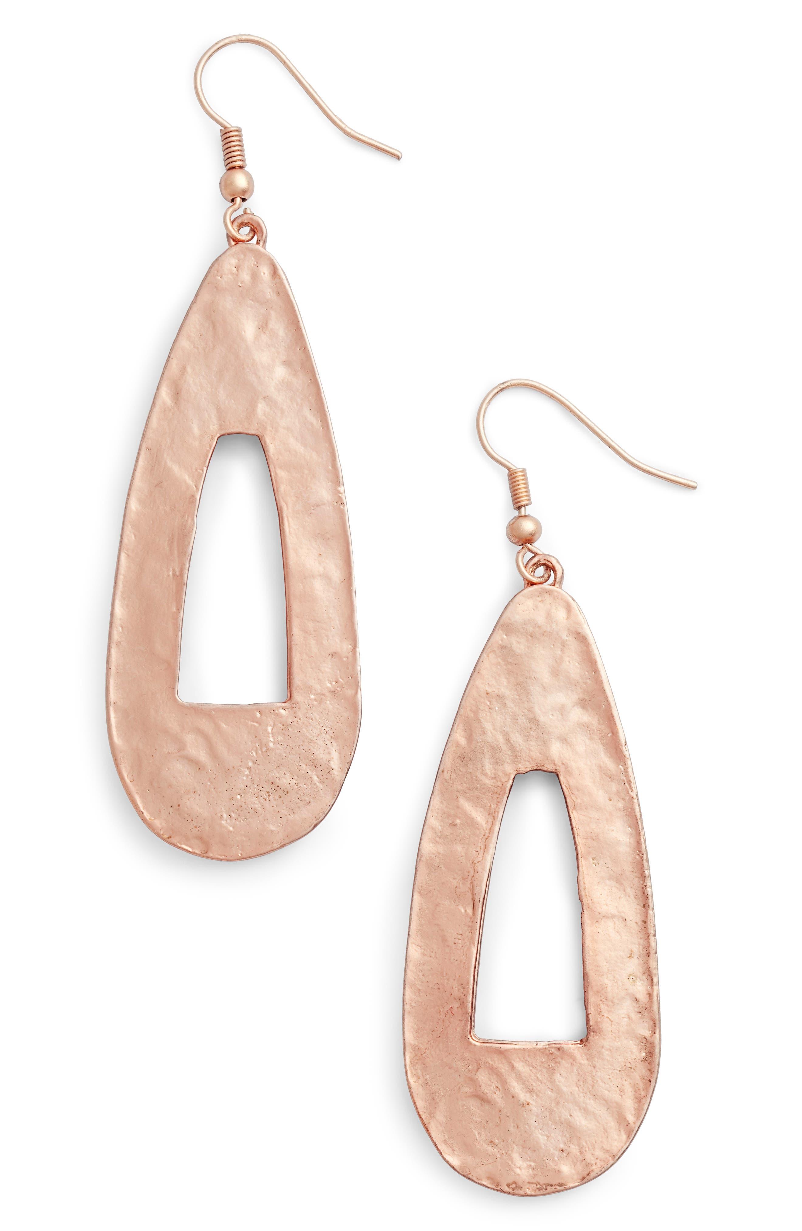 Open Teardrop Earrings,                         Main,                         color, Rose Gold