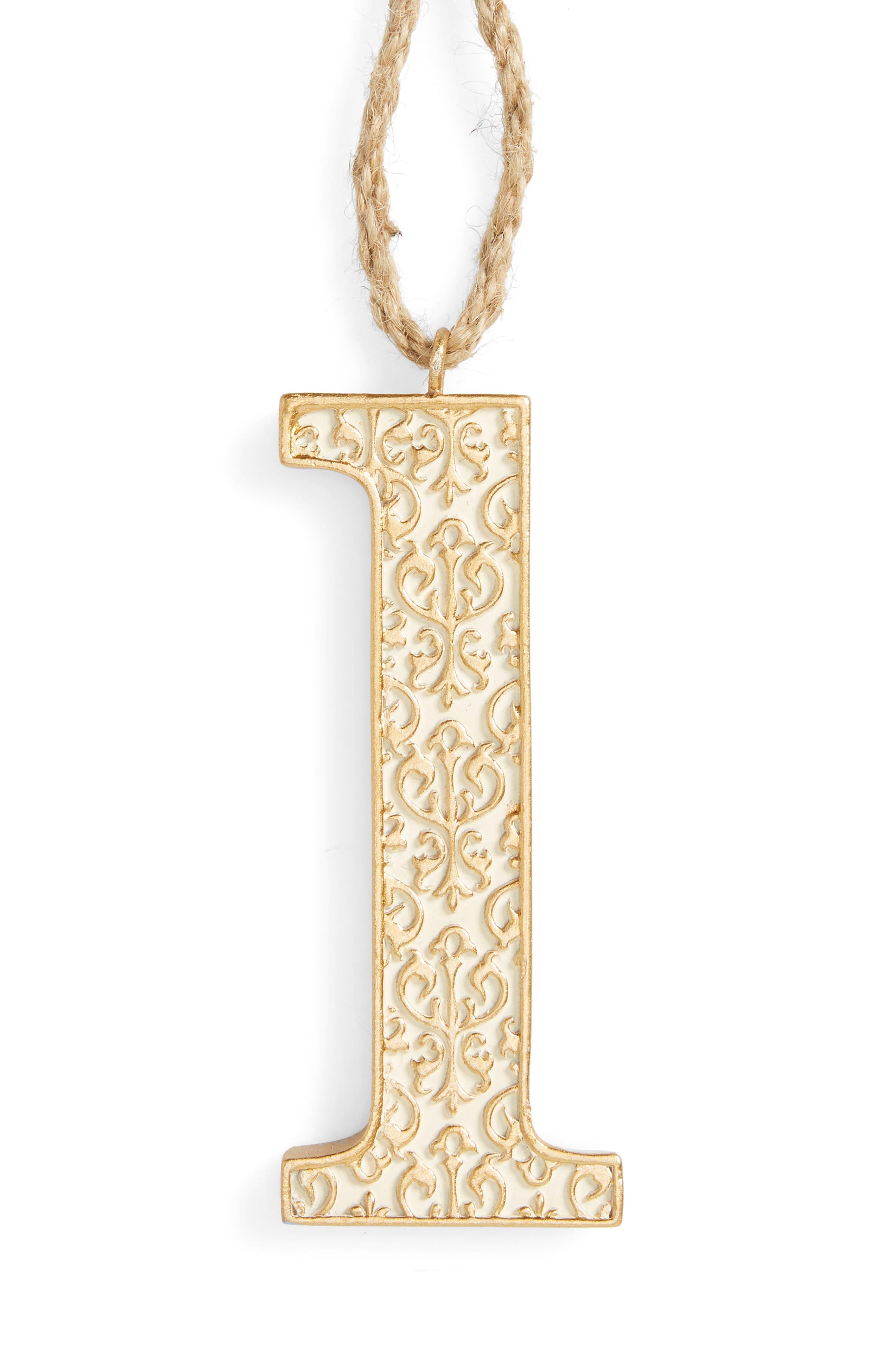 Letter Ornament,                             Main thumbnail 1, color,                             Gold-L