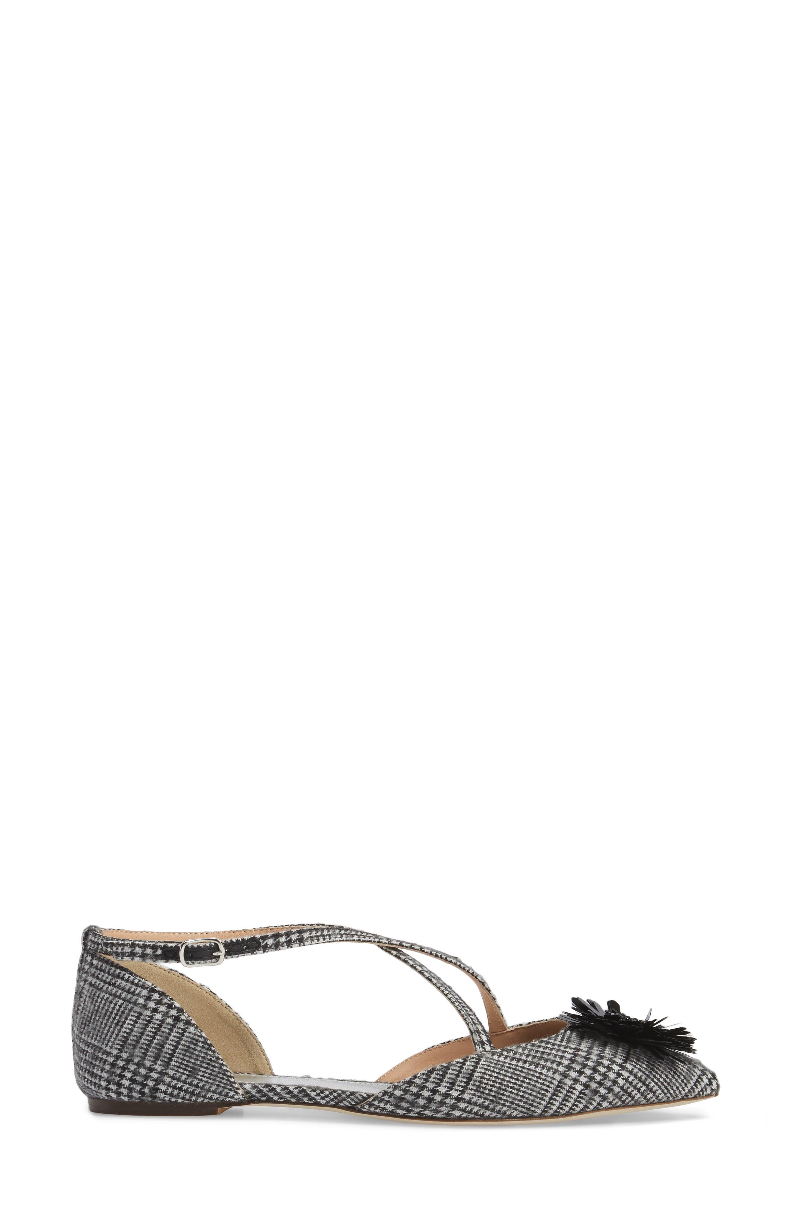 Sadie Cross Strap Pointy Toe Flat,                             Alternate thumbnail 3, color,                             Black/ White Fabric