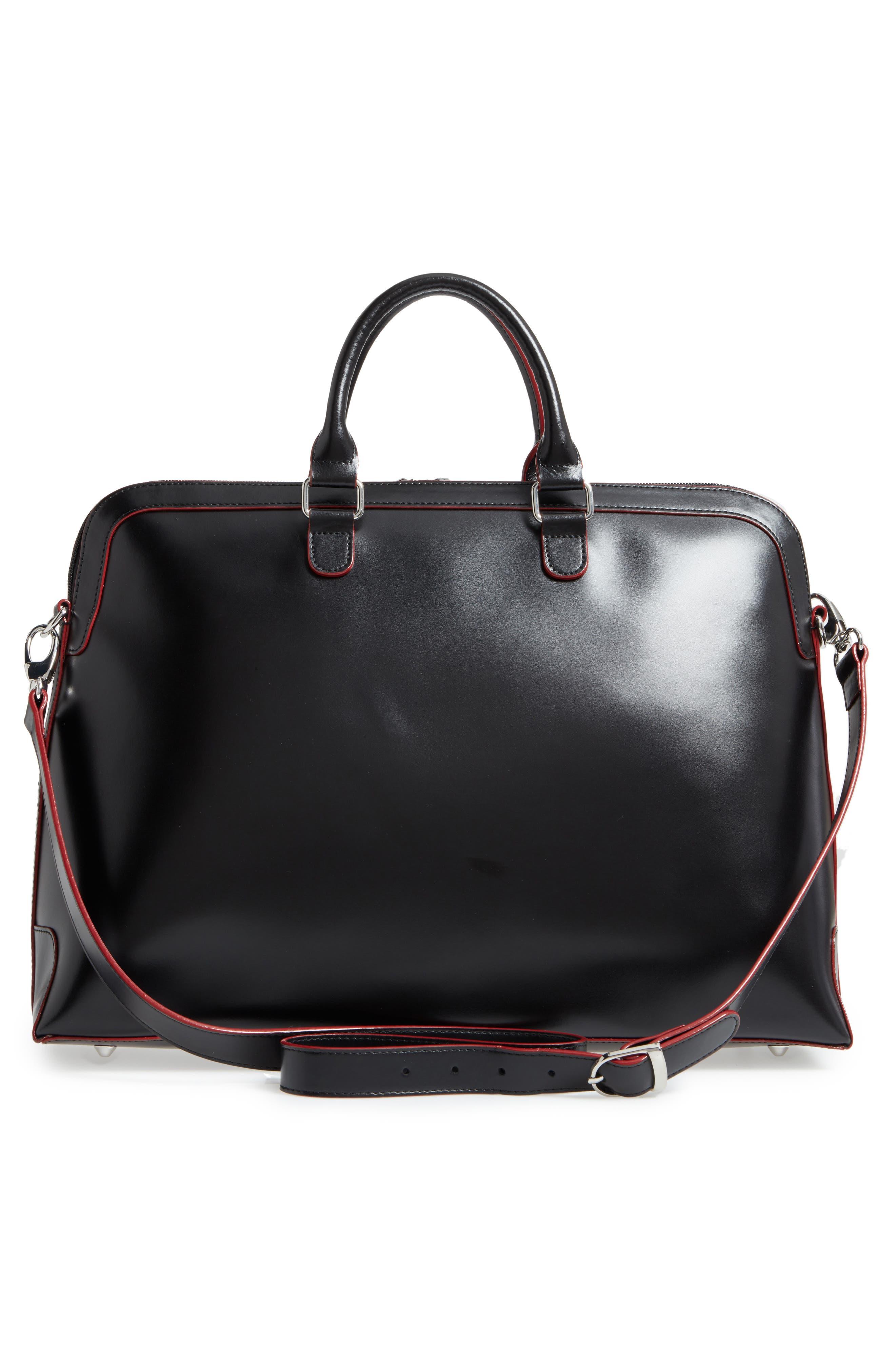 Audrey Under Lock & Key - Brera RFID Leather Briefcase,                             Alternate thumbnail 2, color,                             Black