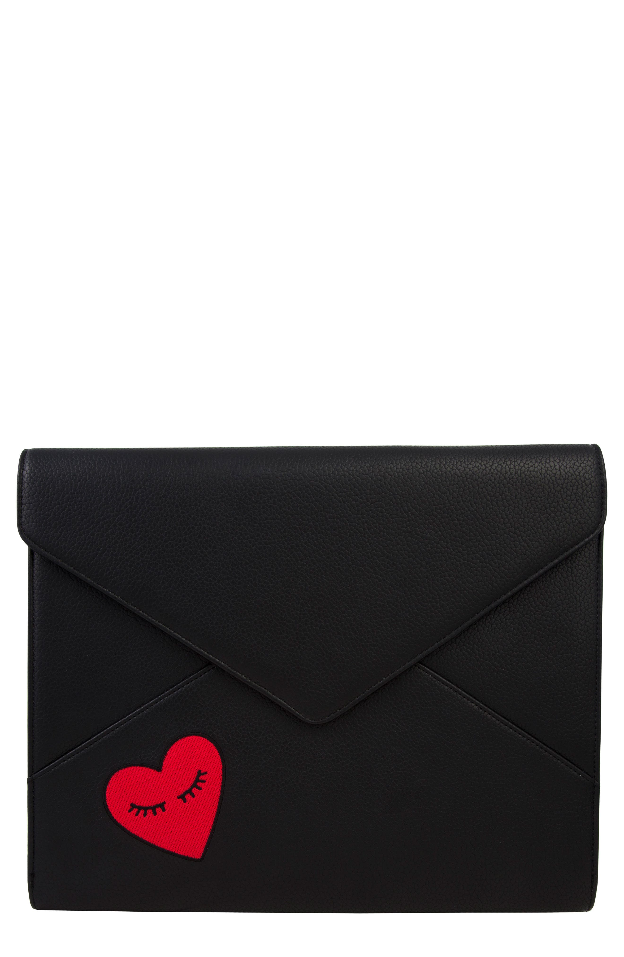 Sonix Fancy Heart Faux Leather Laptop Clutch
